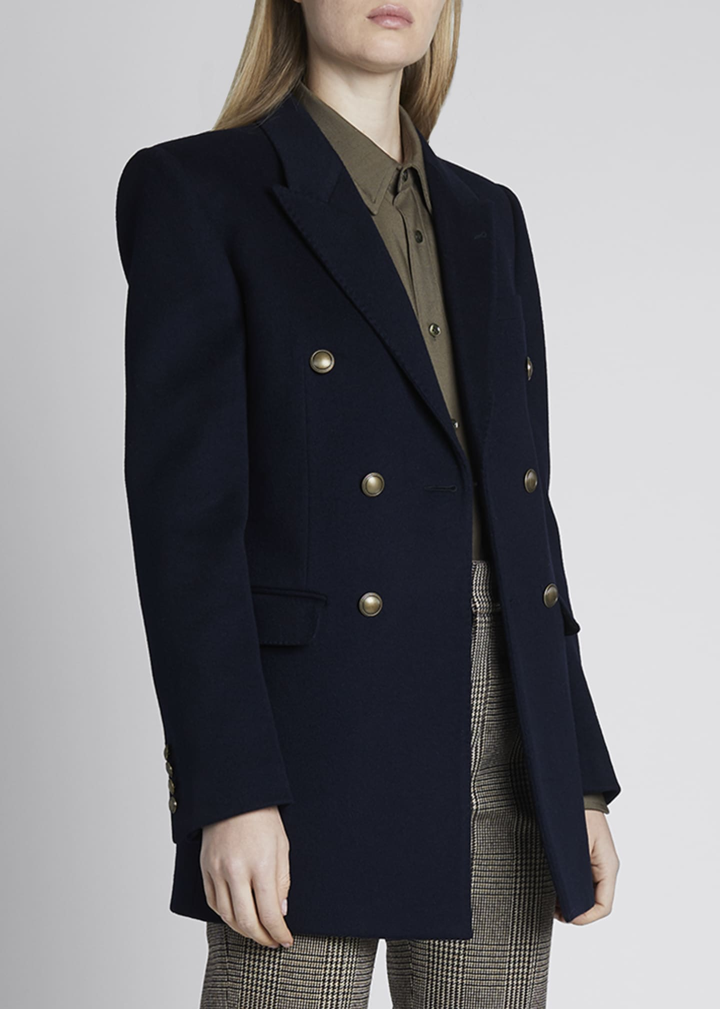 Image 3 of 4: Double-Breasted Oversized Wool-Cashmere Blazer