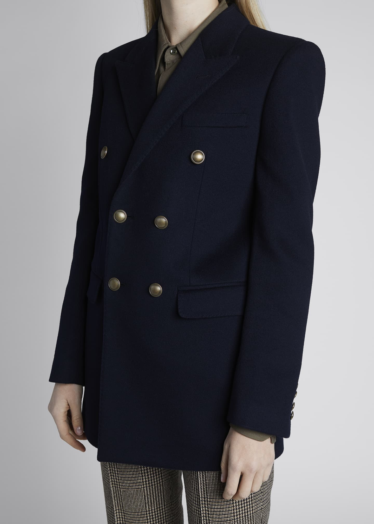 Image 4 of 4: Double-Breasted Oversized Wool-Cashmere Blazer