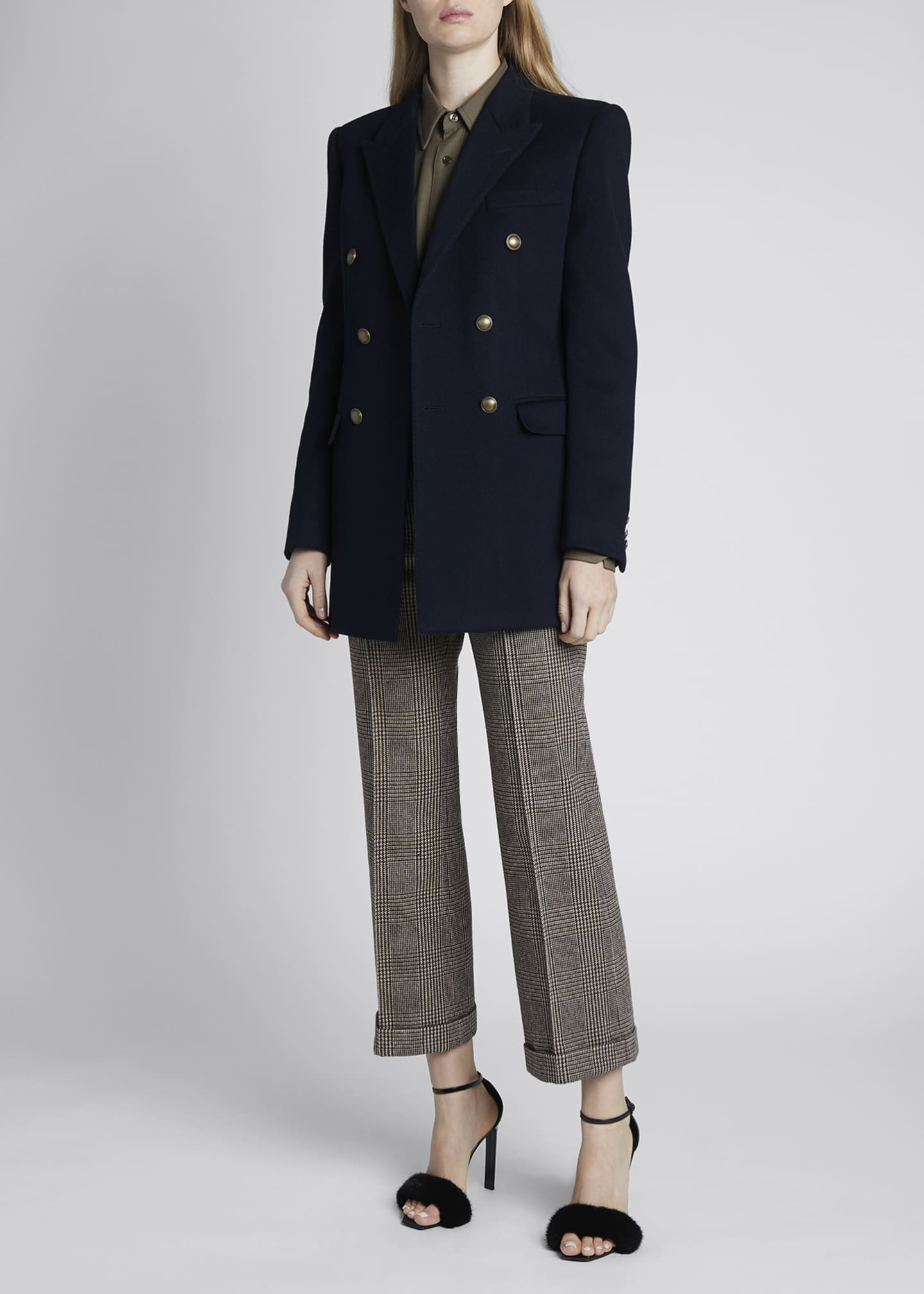 Image 1 of 4: Double-Breasted Oversized Wool-Cashmere Blazer