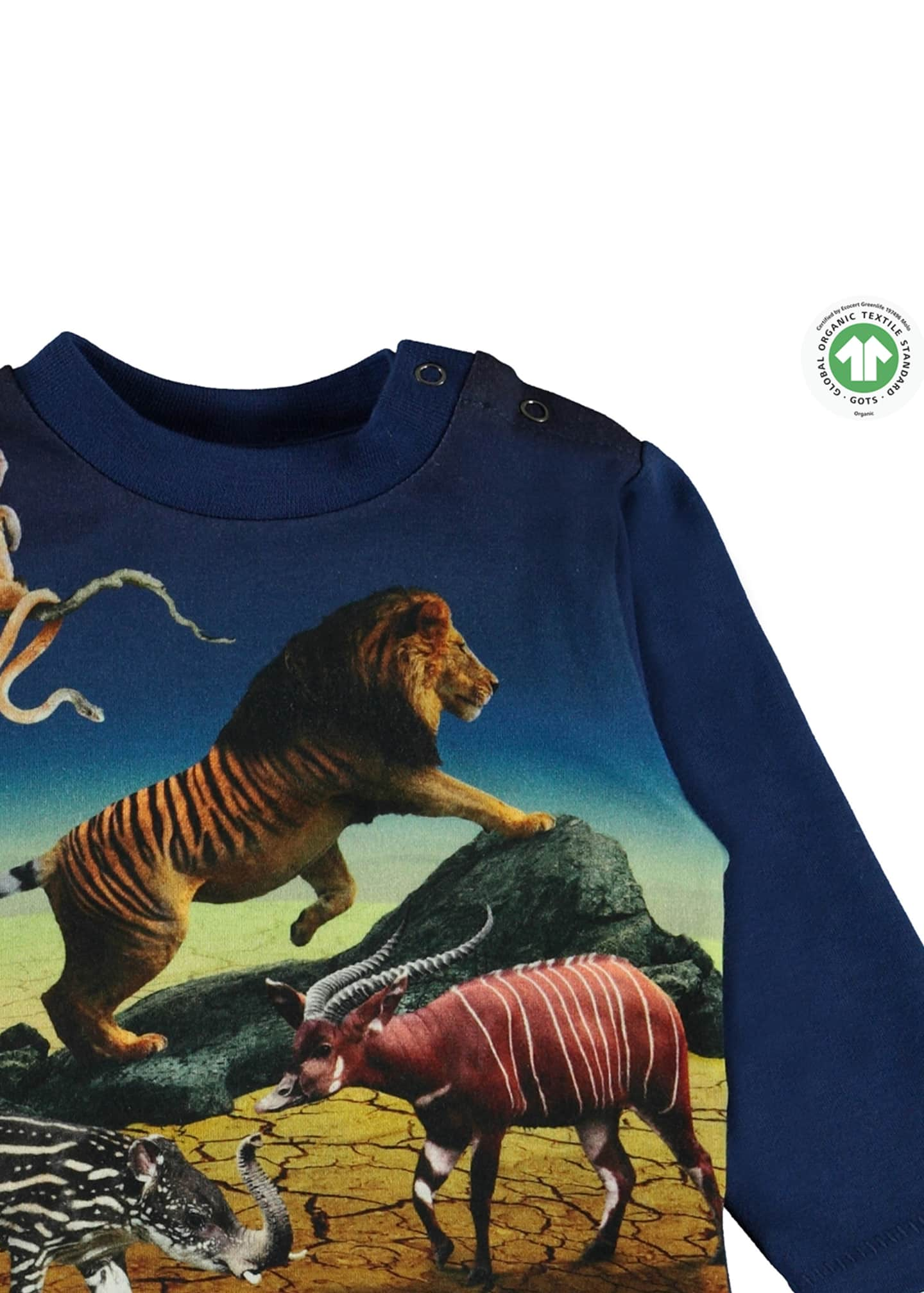 Image 3 of 3: Enovan Animals Placement Long-Sleeve T-Shirt, Size 12-24 Months