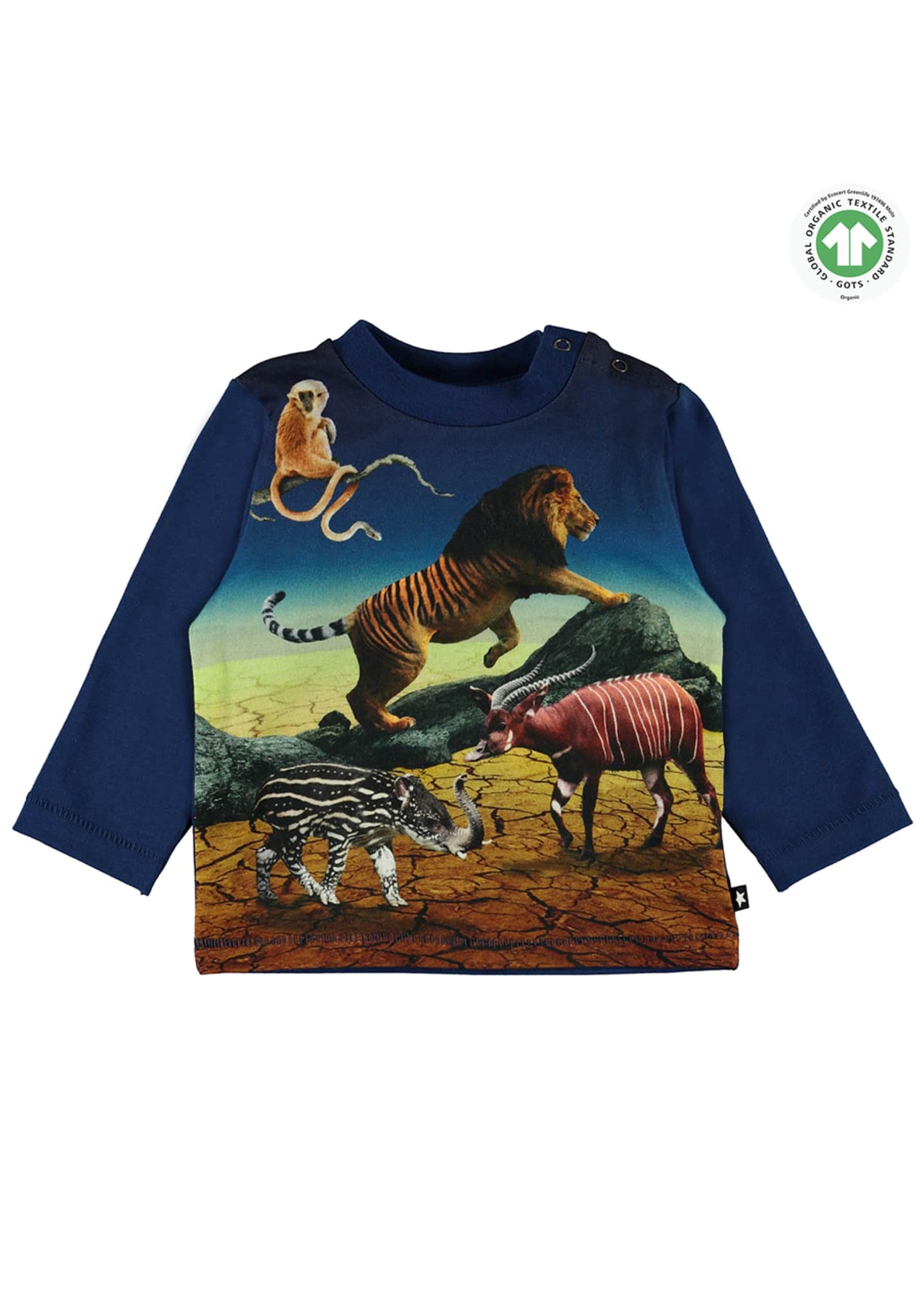 Image 1 of 3: Enovan Animals Placement Long-Sleeve T-Shirt, Size 12-24 Months