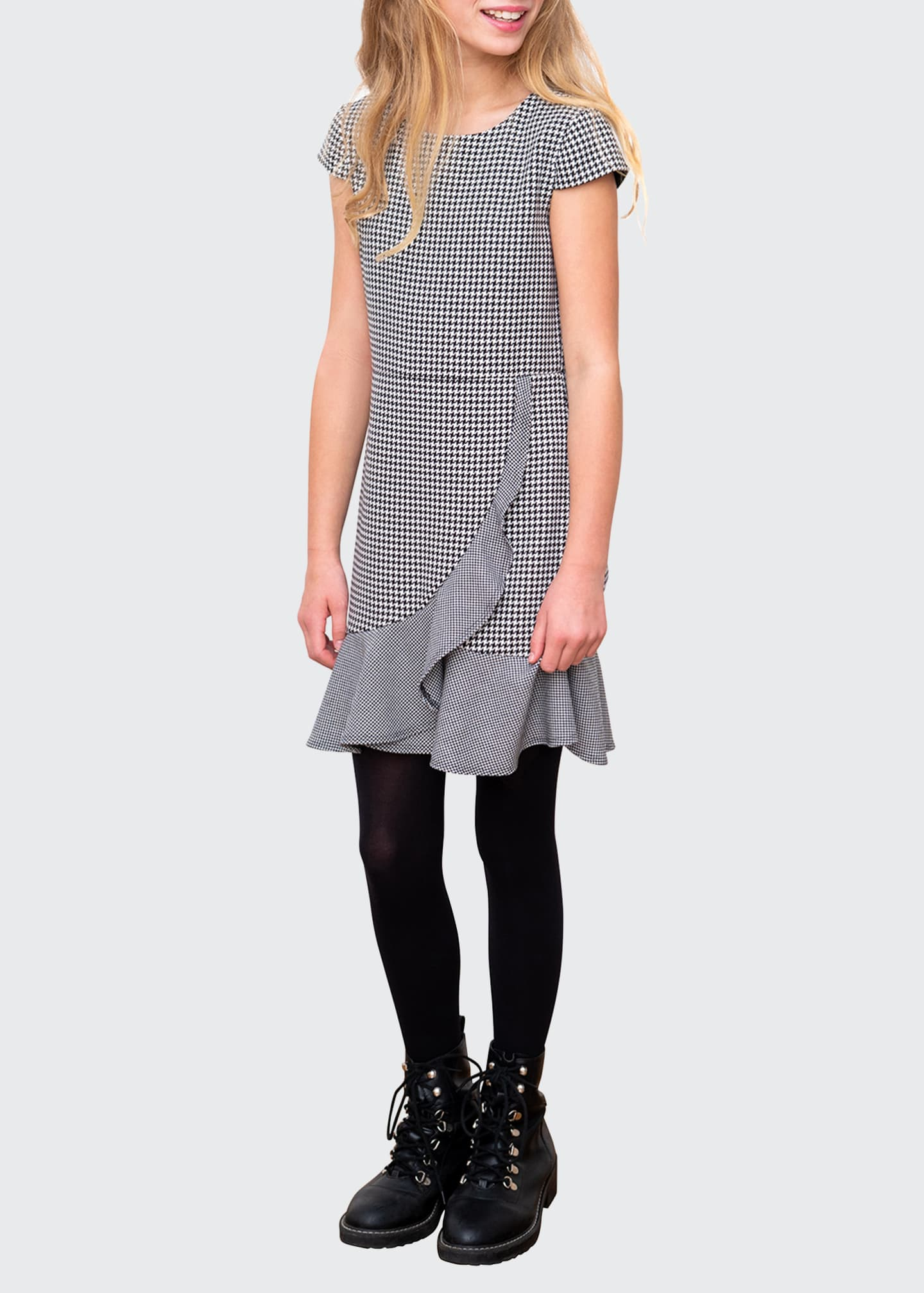 Image 2 of 3: Houndstooth Cap-Sleeve Ruffle Dress