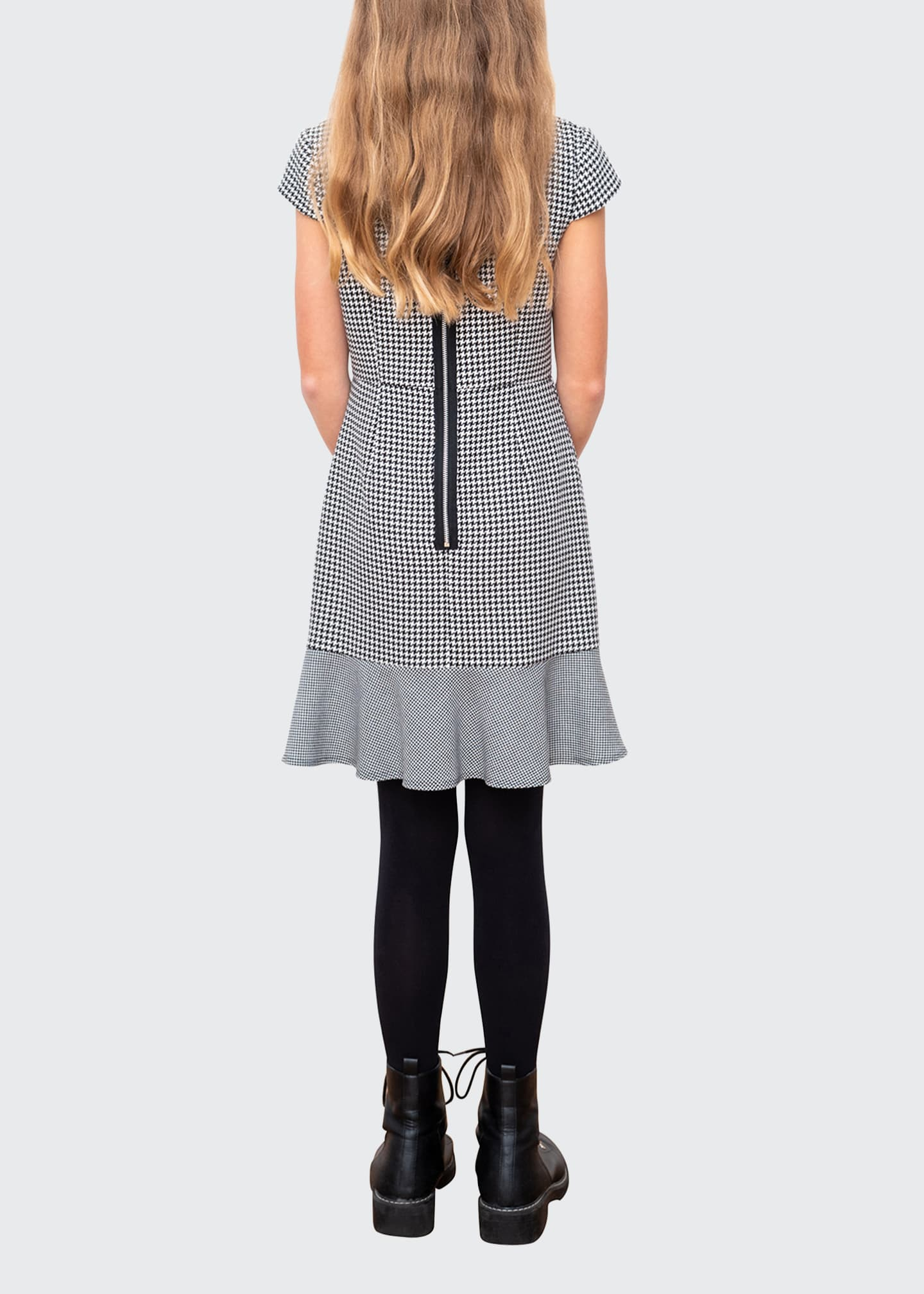 Image 3 of 3: Houndstooth Cap-Sleeve Ruffle Dress