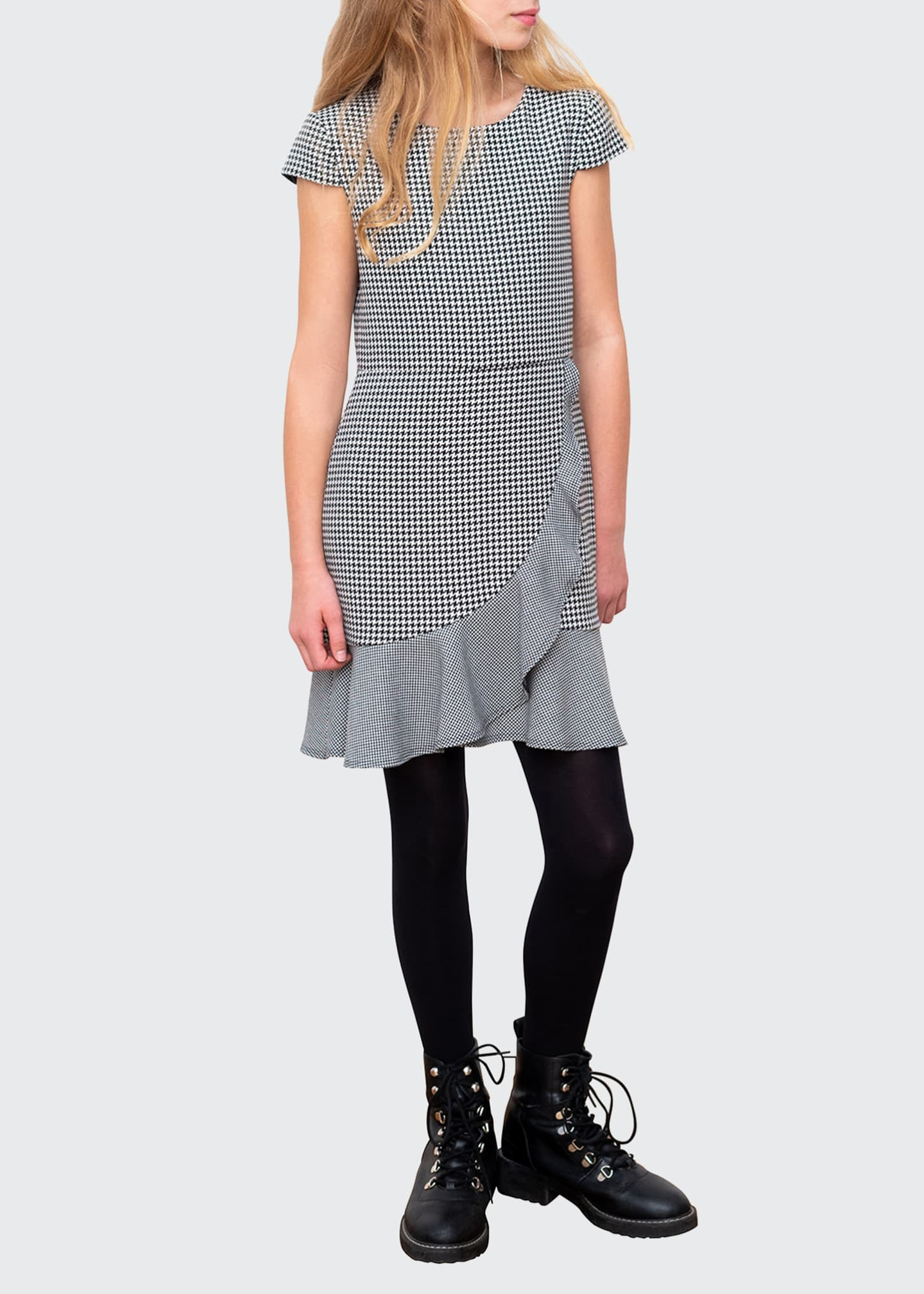 Image 1 of 3: Houndstooth Cap-Sleeve Ruffle Dress