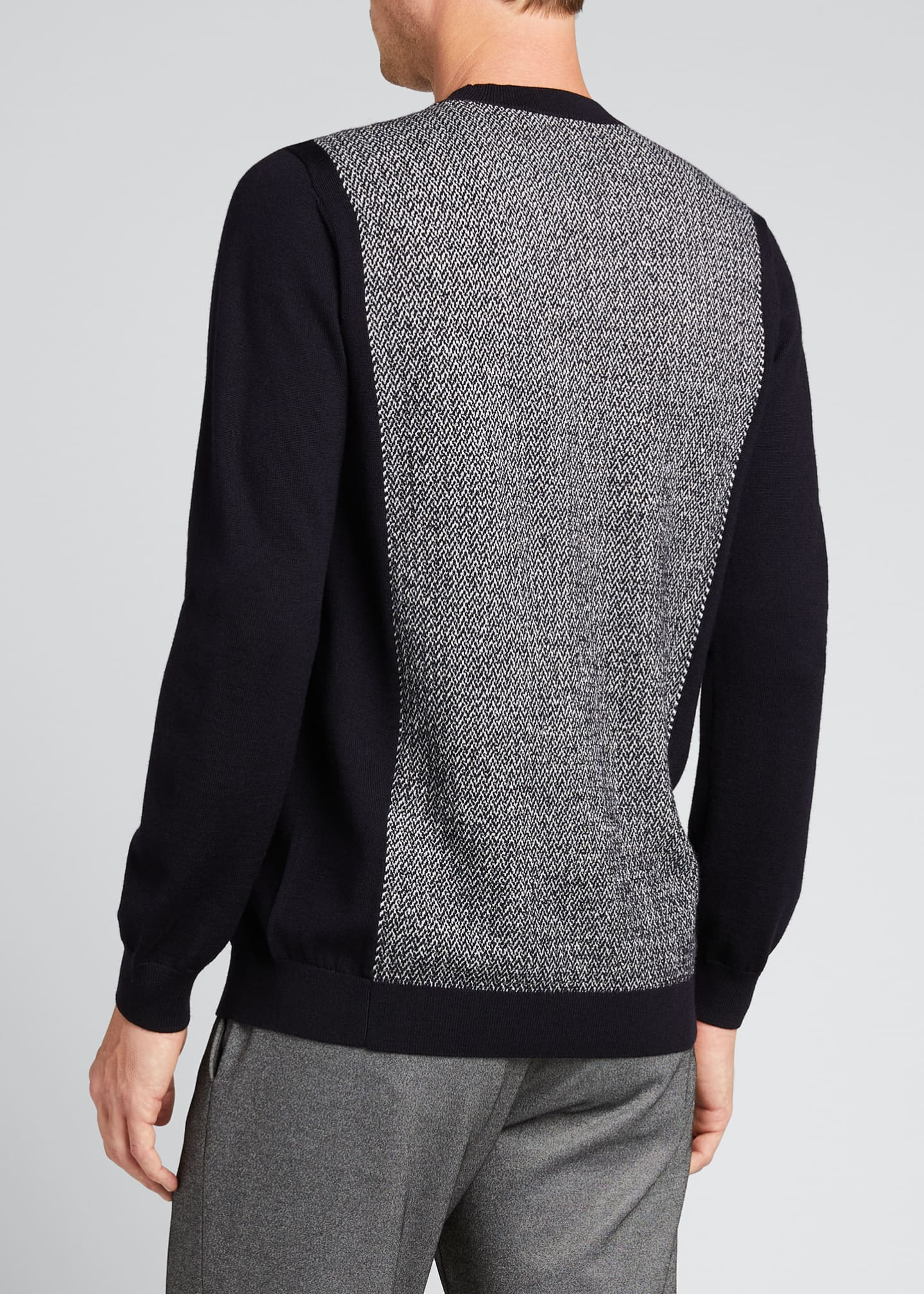 Image 2 of 4: Men's Chevron/Solid Wool Sweater