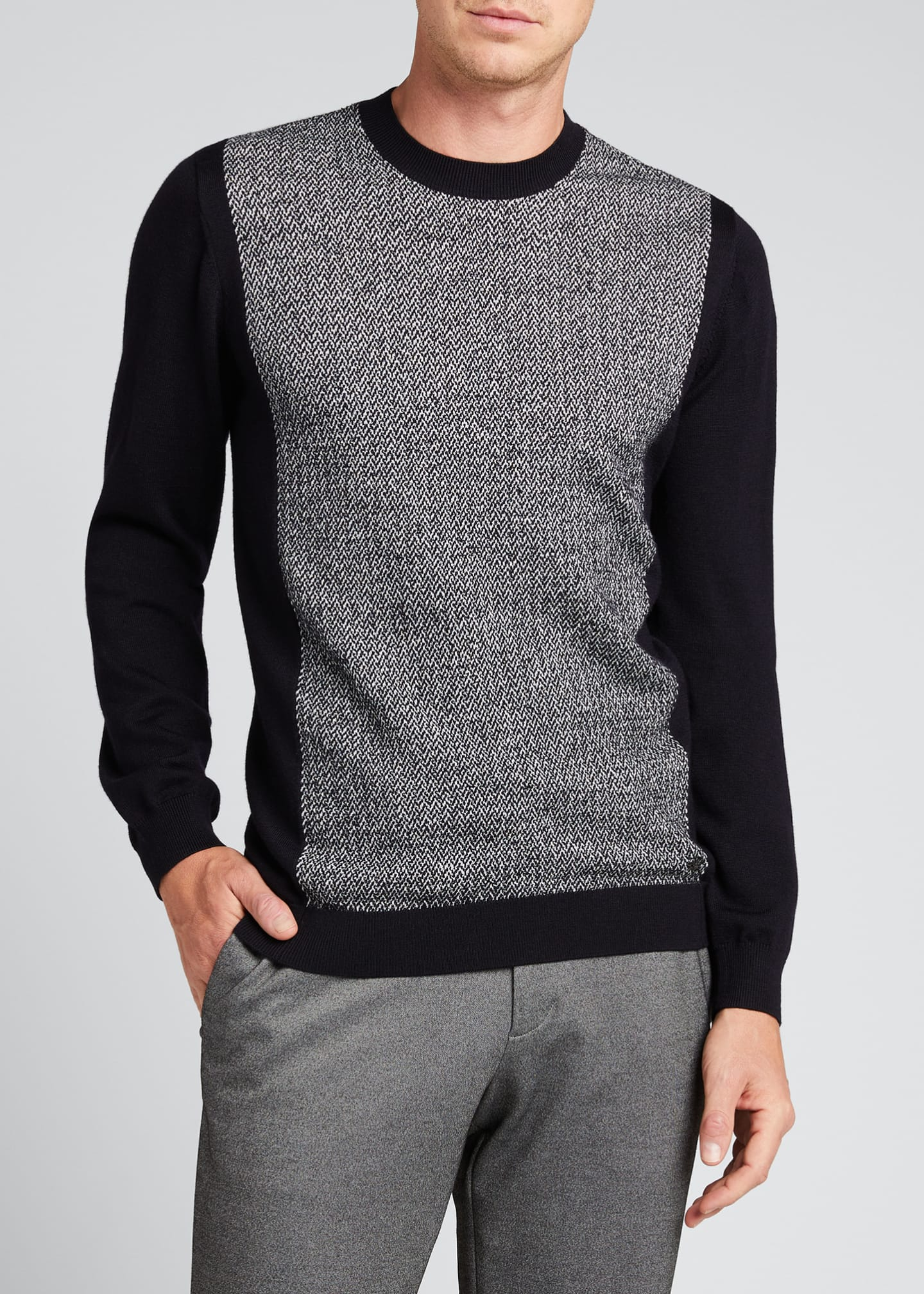 Image 3 of 4: Men's Chevron/Solid Wool Sweater