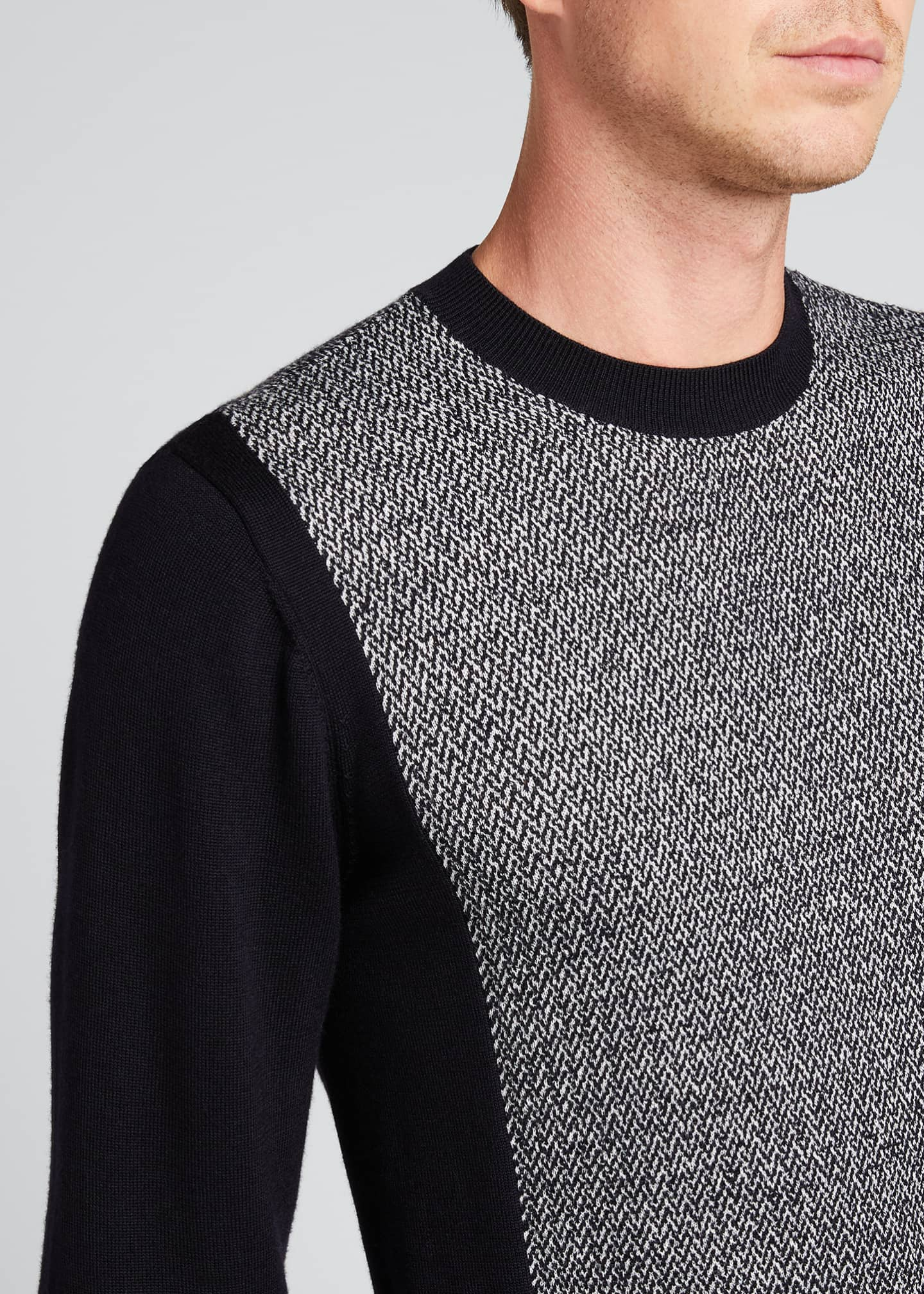 Image 4 of 4: Men's Chevron/Solid Wool Sweater