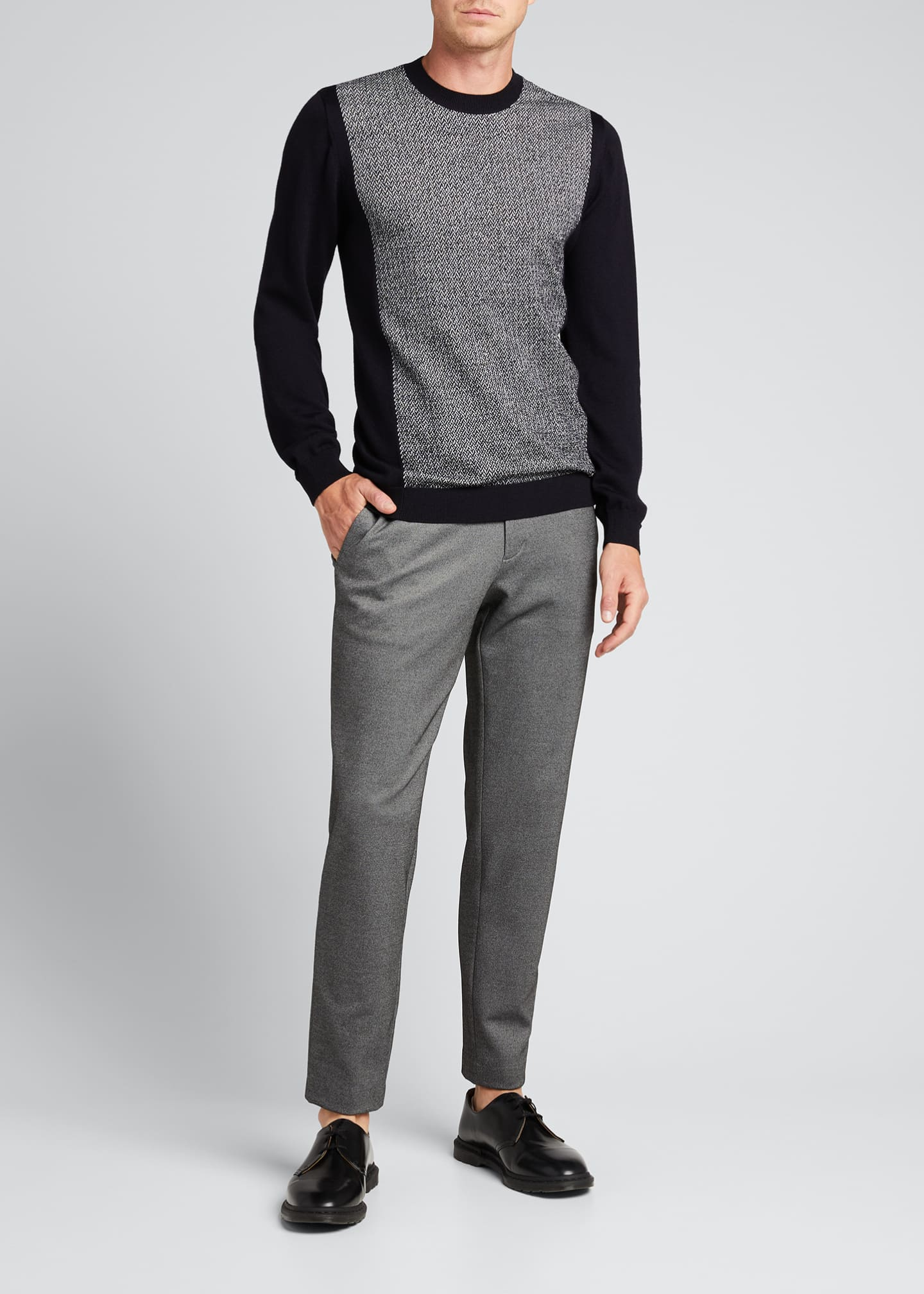 Image 1 of 4: Men's Chevron/Solid Wool Sweater