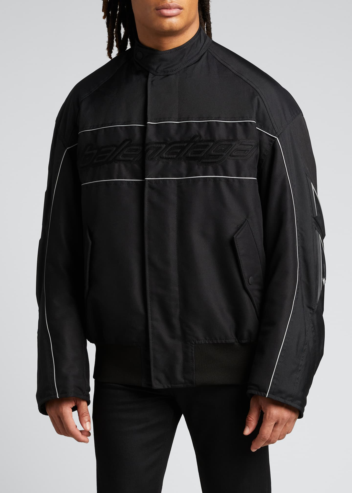 Image 3 of 5: Men's Logo Zip-Front Racing Jacket