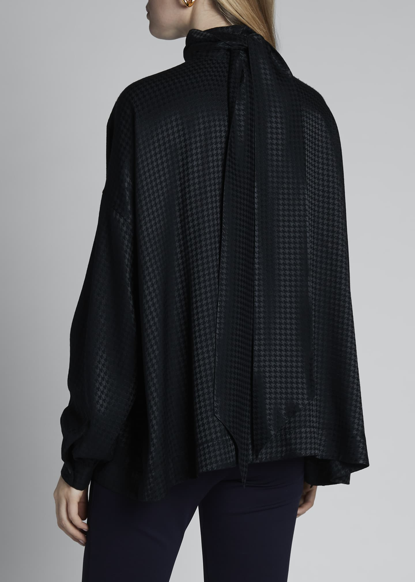 Image 2 of 3: Fluid Vareuse Houndstooth Tie-Neck Blouse
