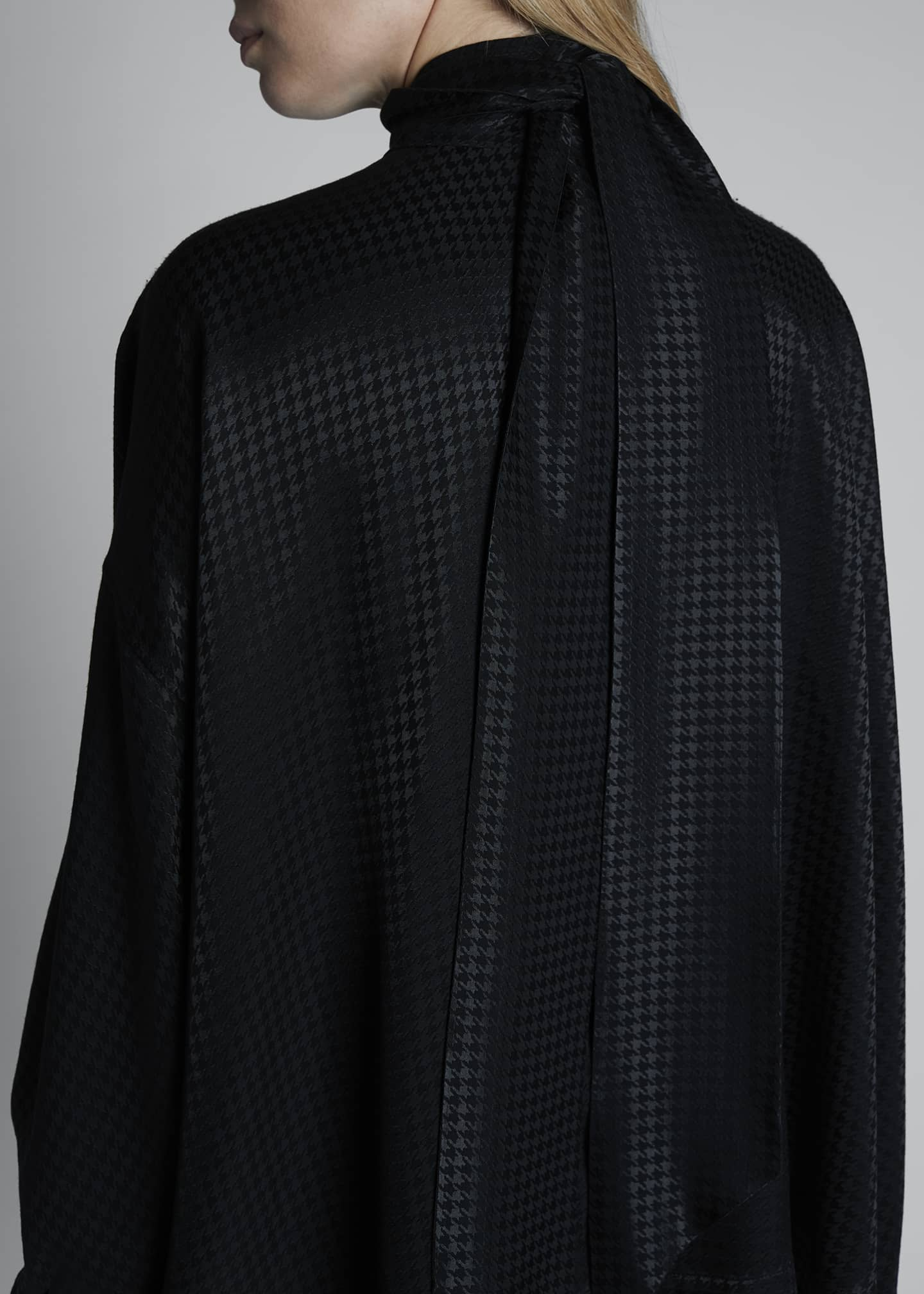 Image 3 of 3: Fluid Vareuse Houndstooth Tie-Neck Blouse
