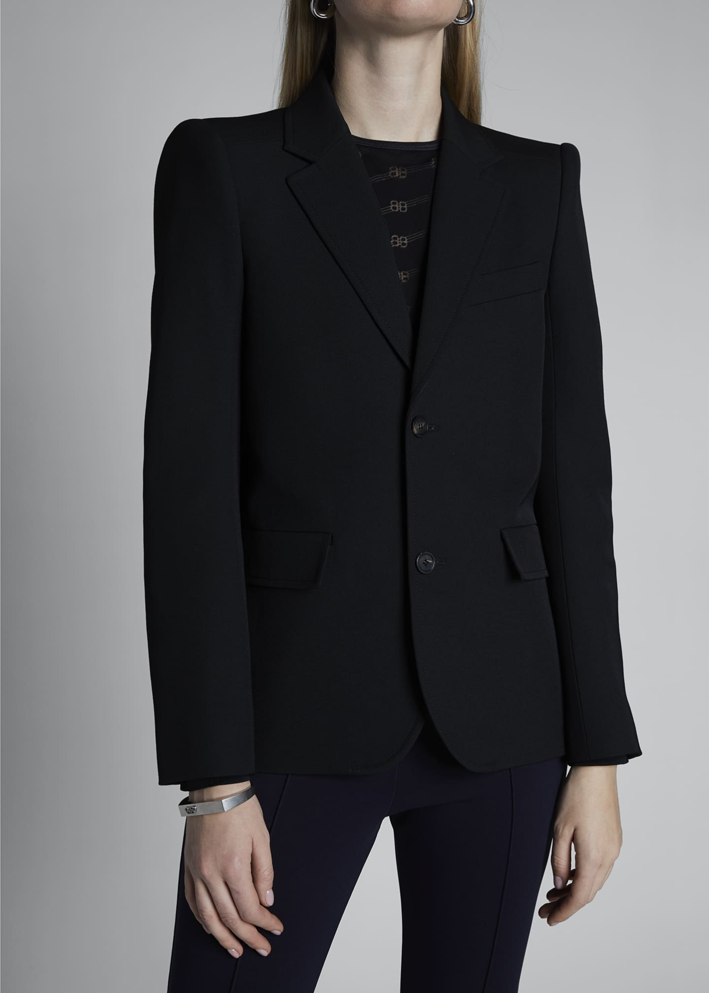 Image 3 of 3: Curved Shoulder Wool Jacket