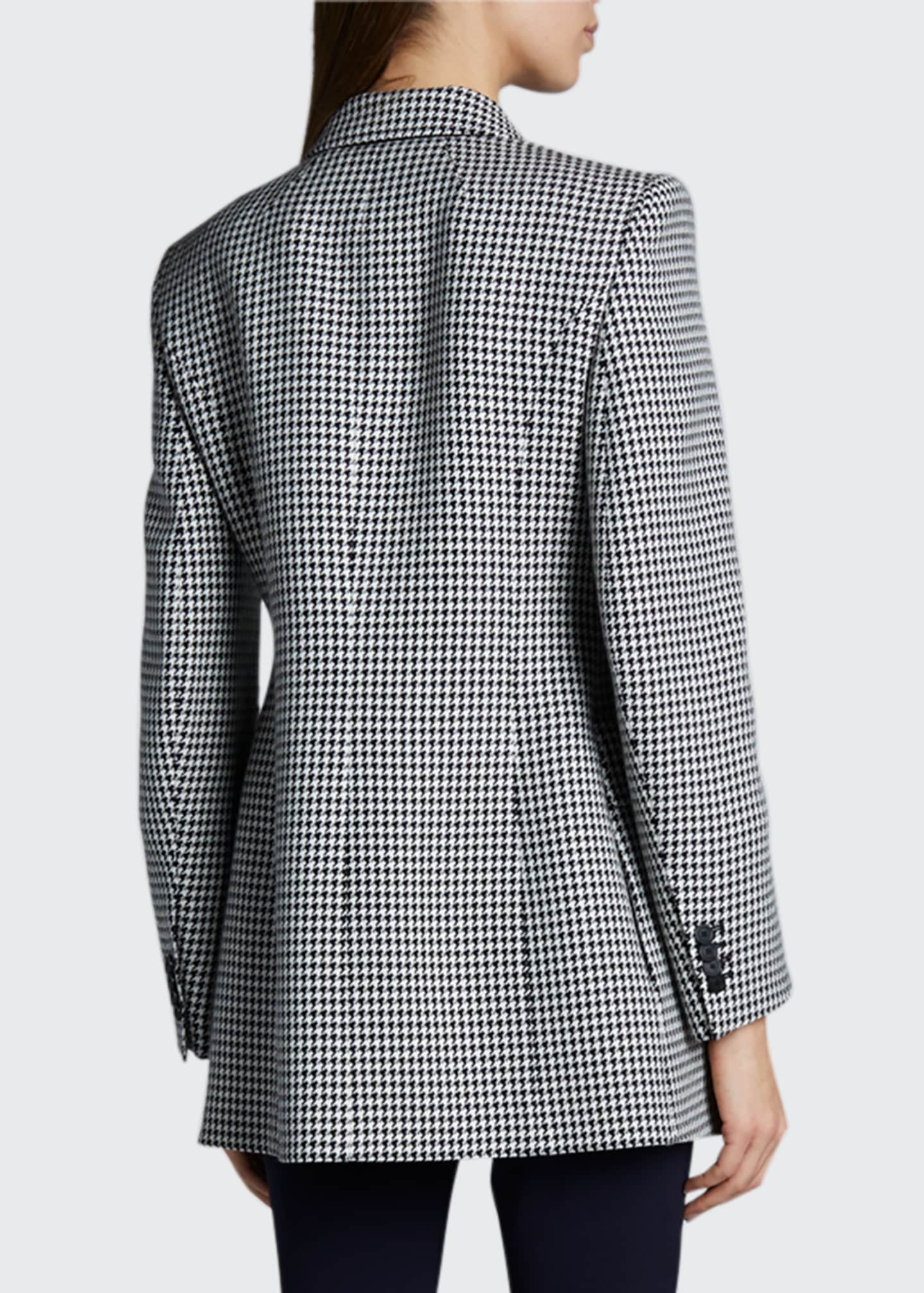 Image 2 of 2: Houndstooth Wool Hourglass Blazer