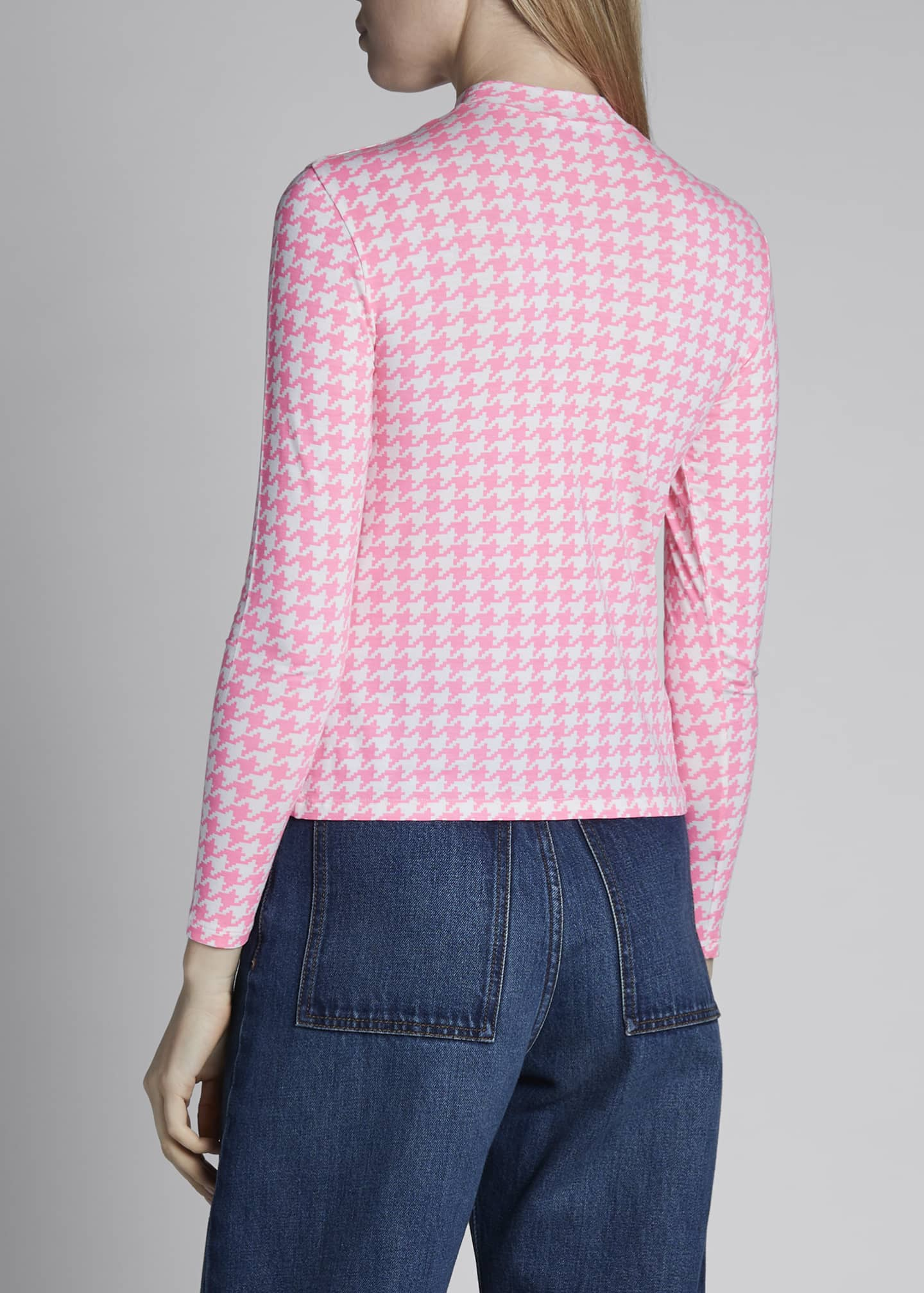 Image 2 of 3: Printed Houndstooth Long-Sleeve Stretch Jersey Top