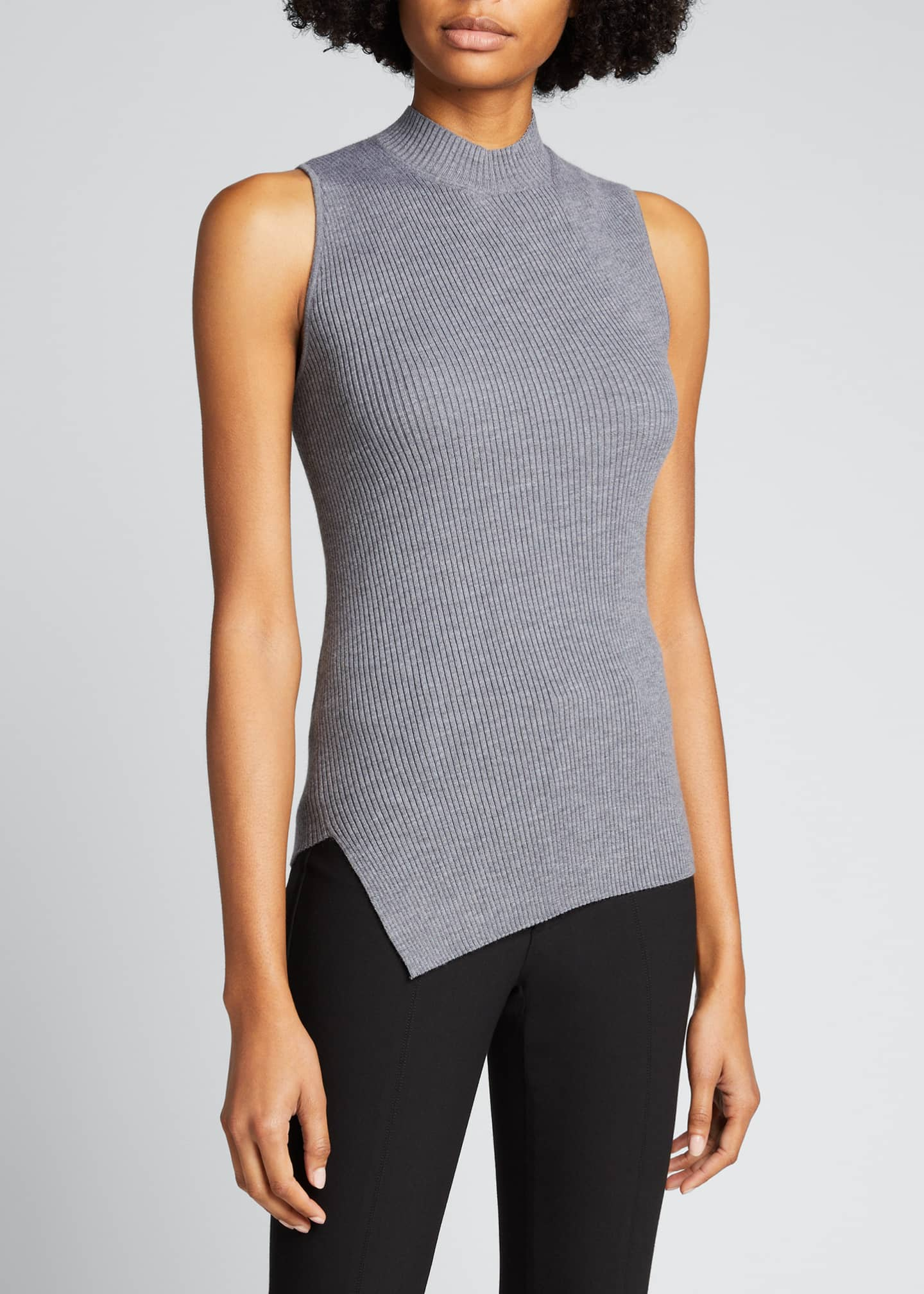 Image 3 of 5: Twisted Rib Sleeveless Wool-Blend Top