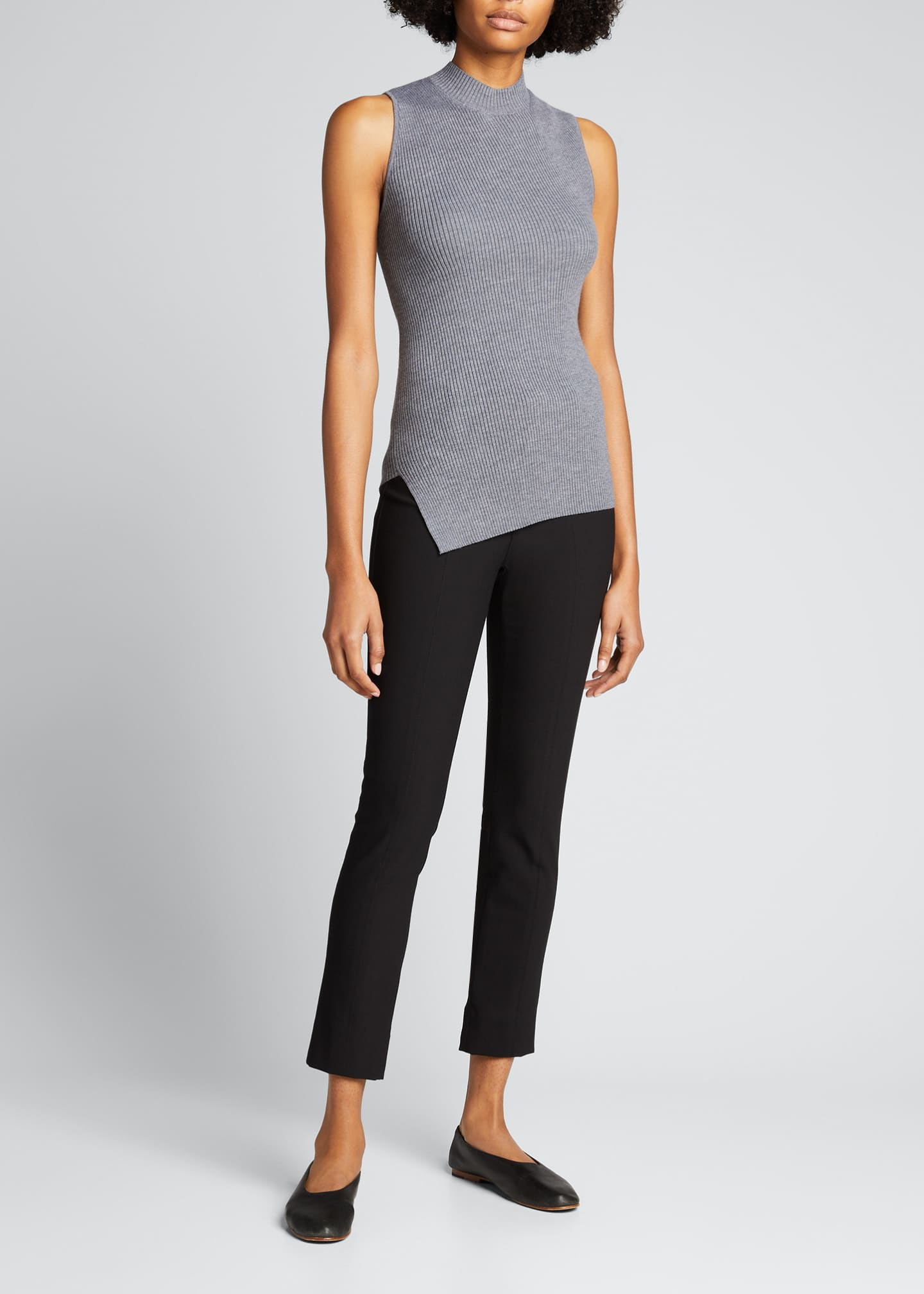 Image 1 of 5: Twisted Rib Sleeveless Wool-Blend Top