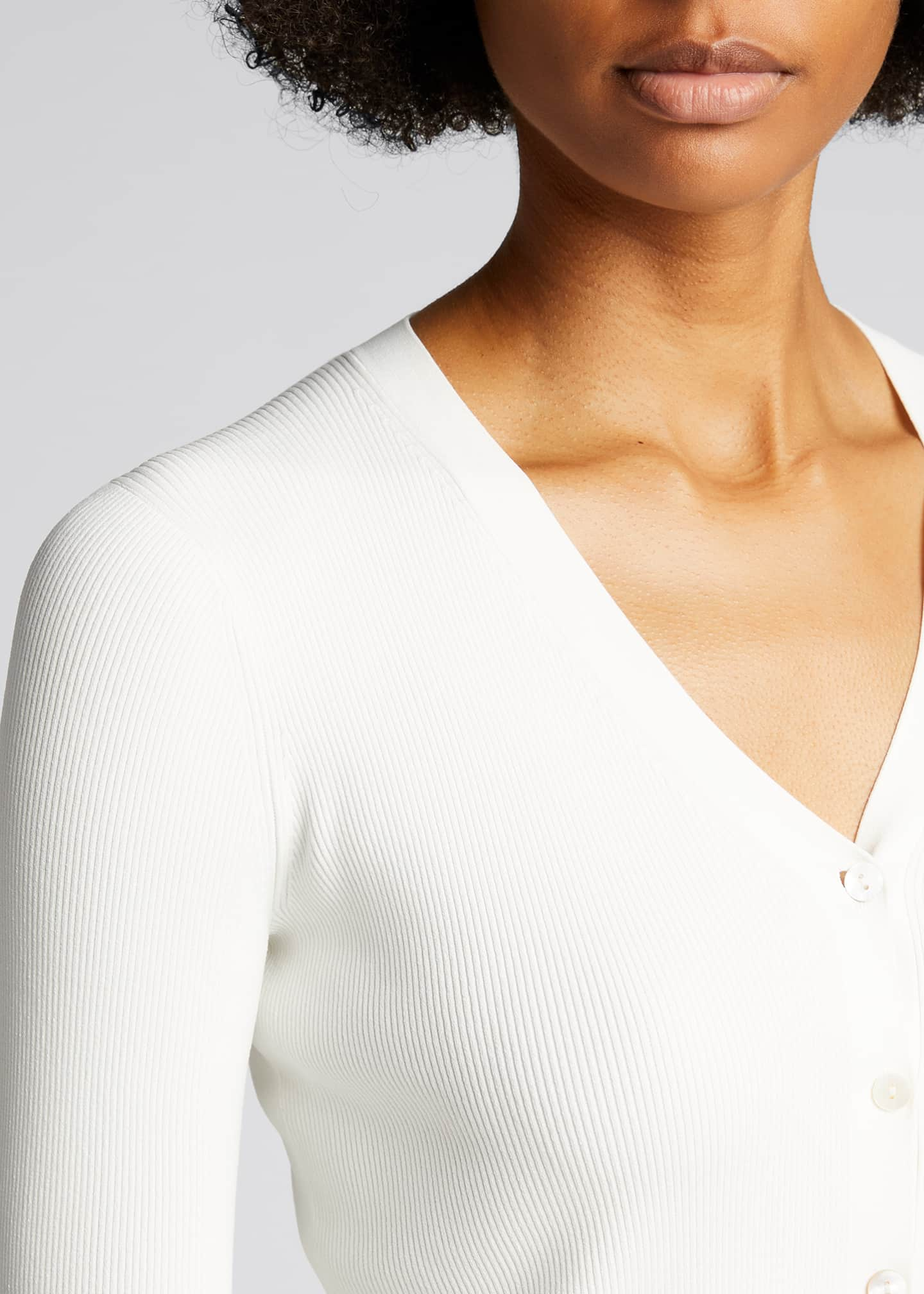 Image 4 of 4: Cropped V-Neck Cardigan