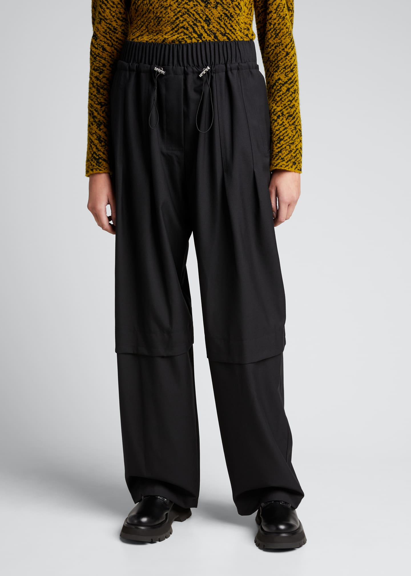 Image 3 of 5: Wool Serge Gathered Drawstring Pants