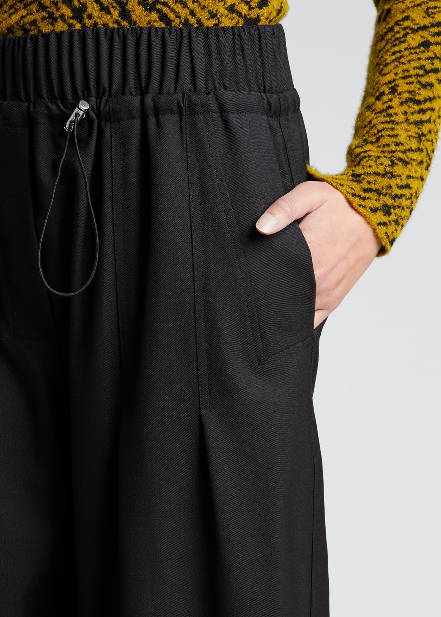 Image 4 of 5: Wool Serge Gathered Drawstring Pants