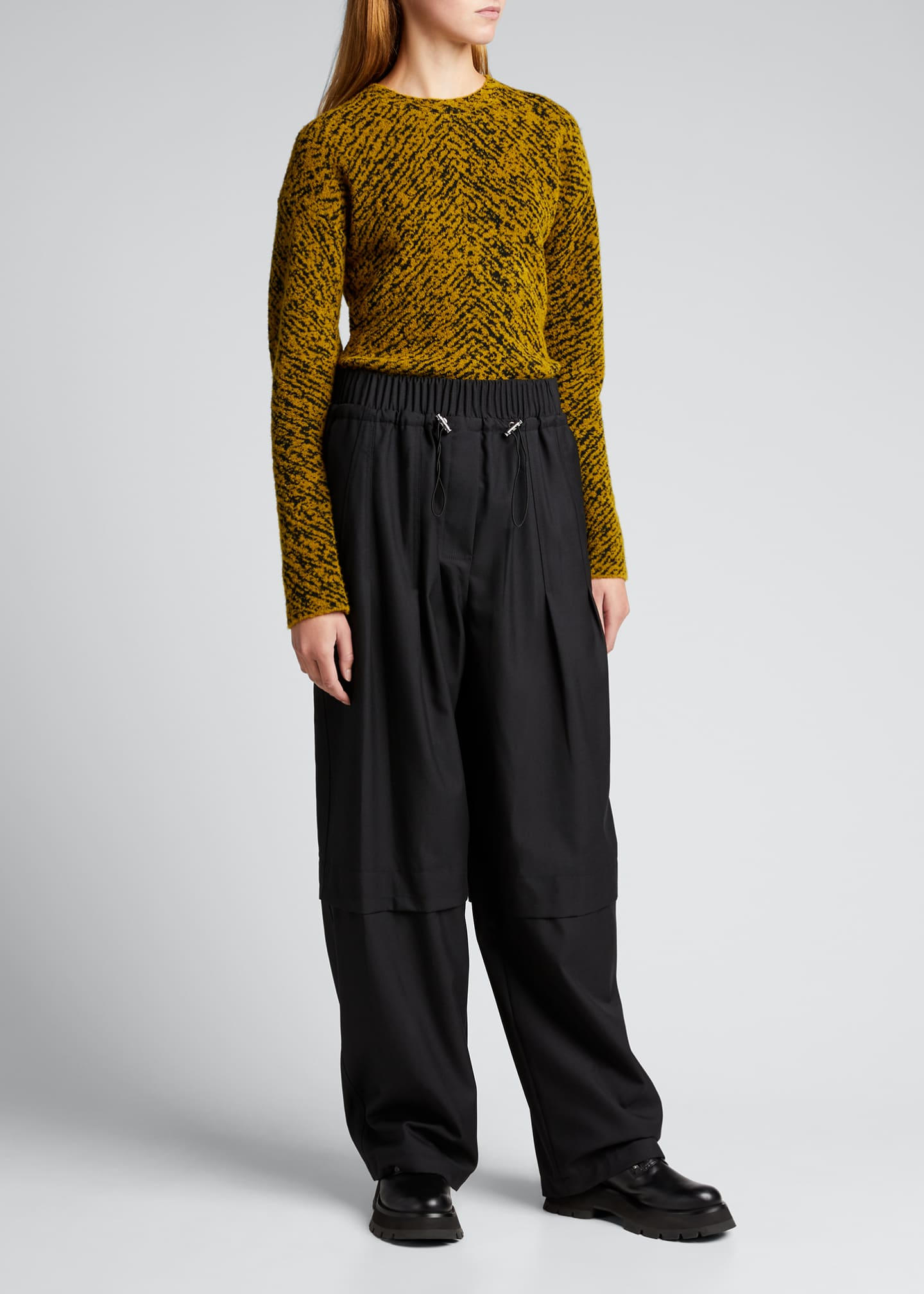 Image 1 of 5: Wool Serge Gathered Drawstring Pants