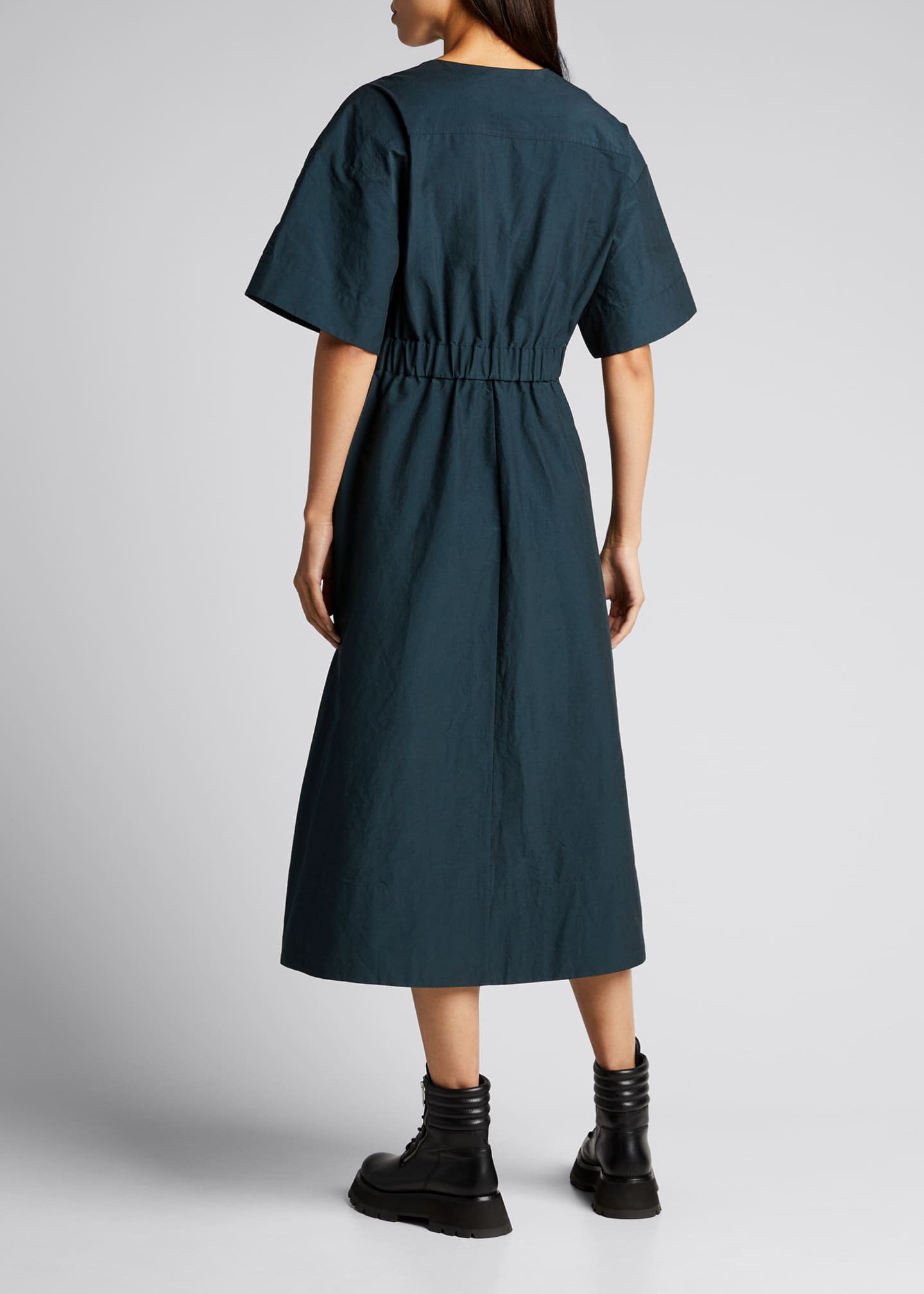 Image 2 of 5: Short-Sleeve Textured Faille Belted Dress