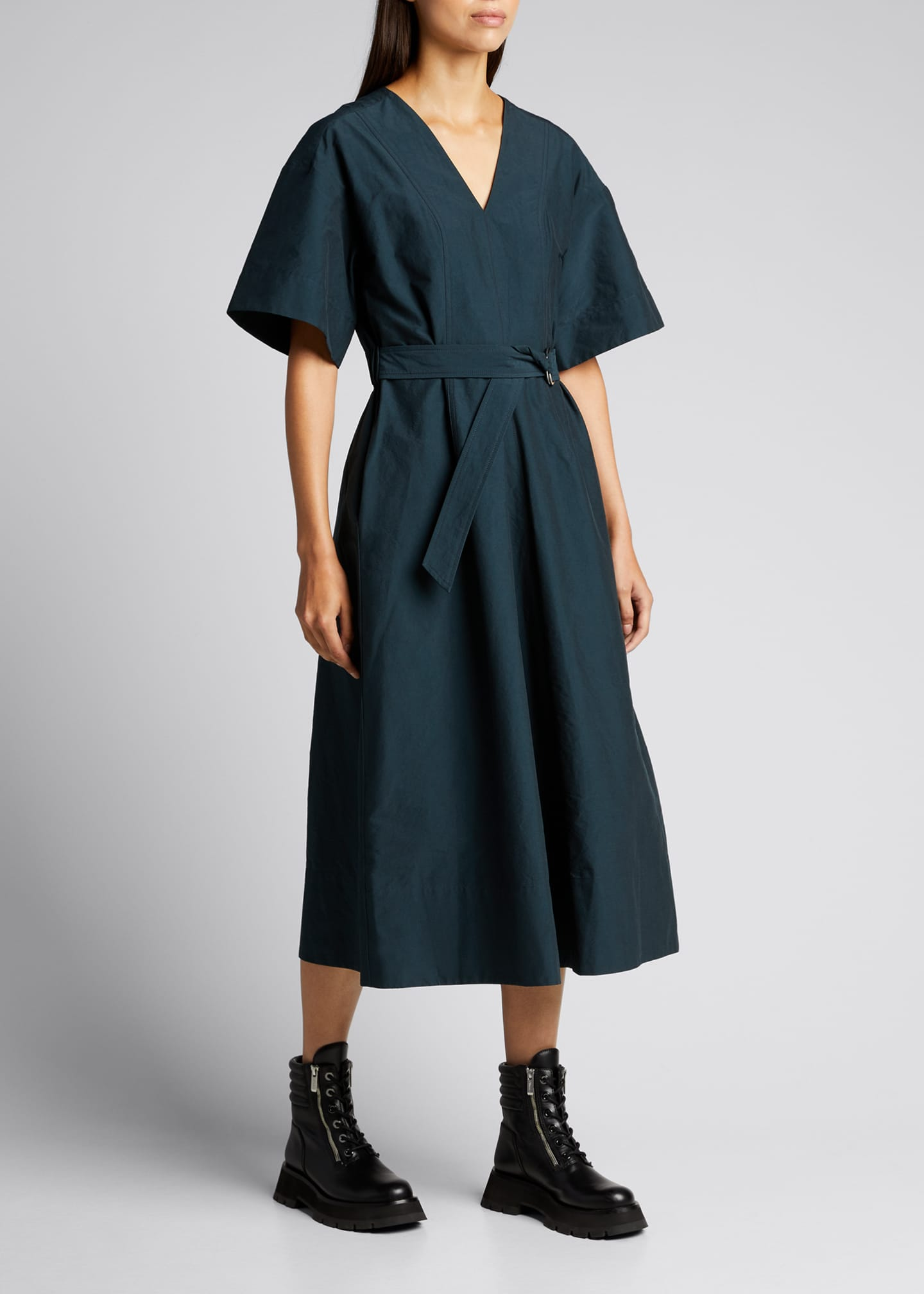Image 3 of 5: Short-Sleeve Textured Faille Belted Dress