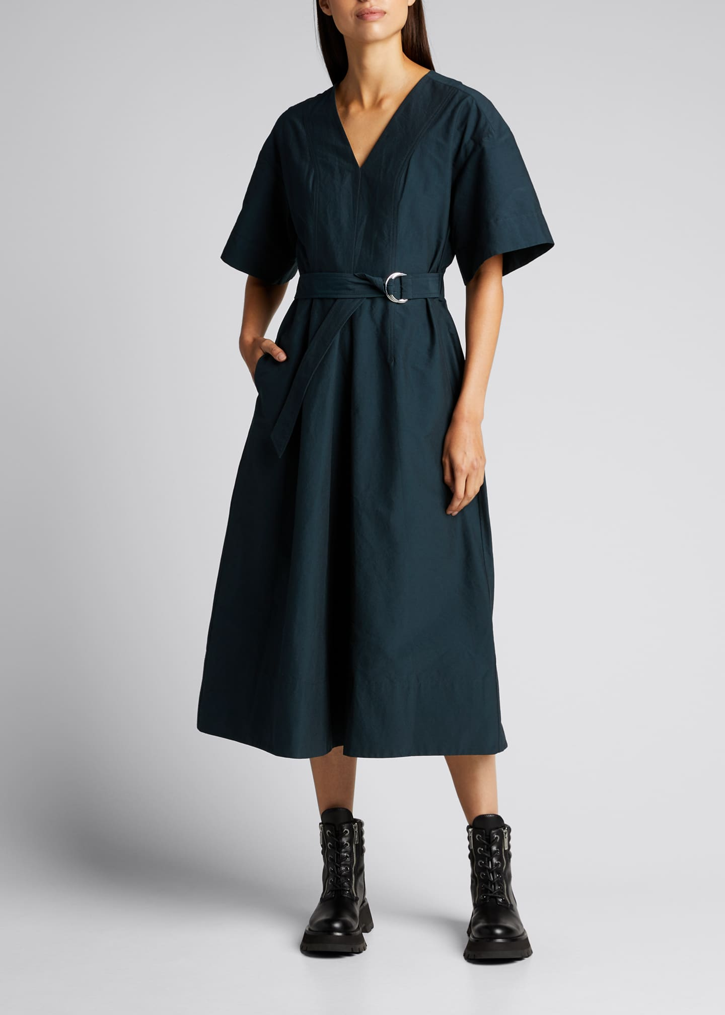 Image 1 of 5: Short-Sleeve Textured Faille Belted Dress