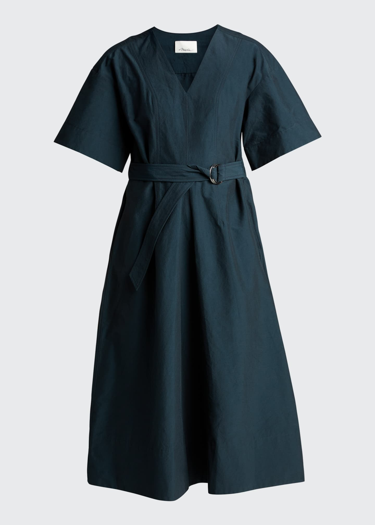 Image 5 of 5: Short-Sleeve Textured Faille Belted Dress