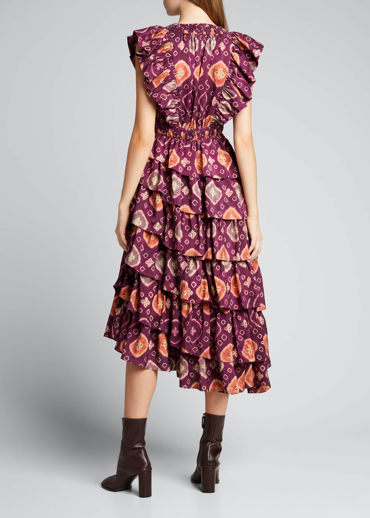 Image 2 of 5: Viola Shibori Plunge-Neck Ruffle Dress