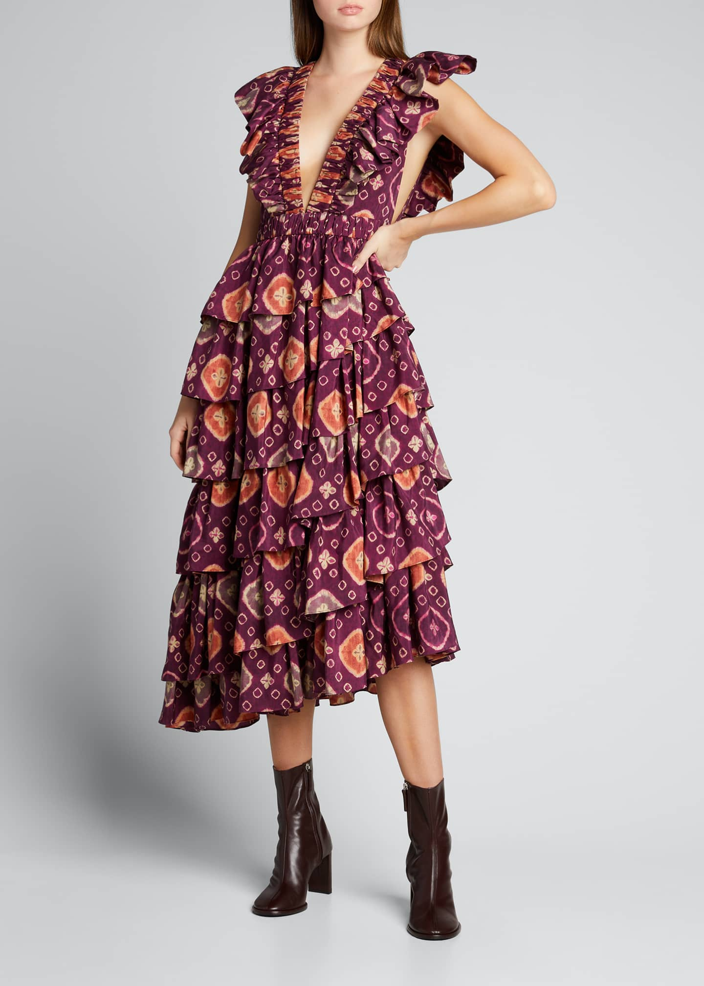 Viola Shibori Plunge-Neck Ruffle Dress