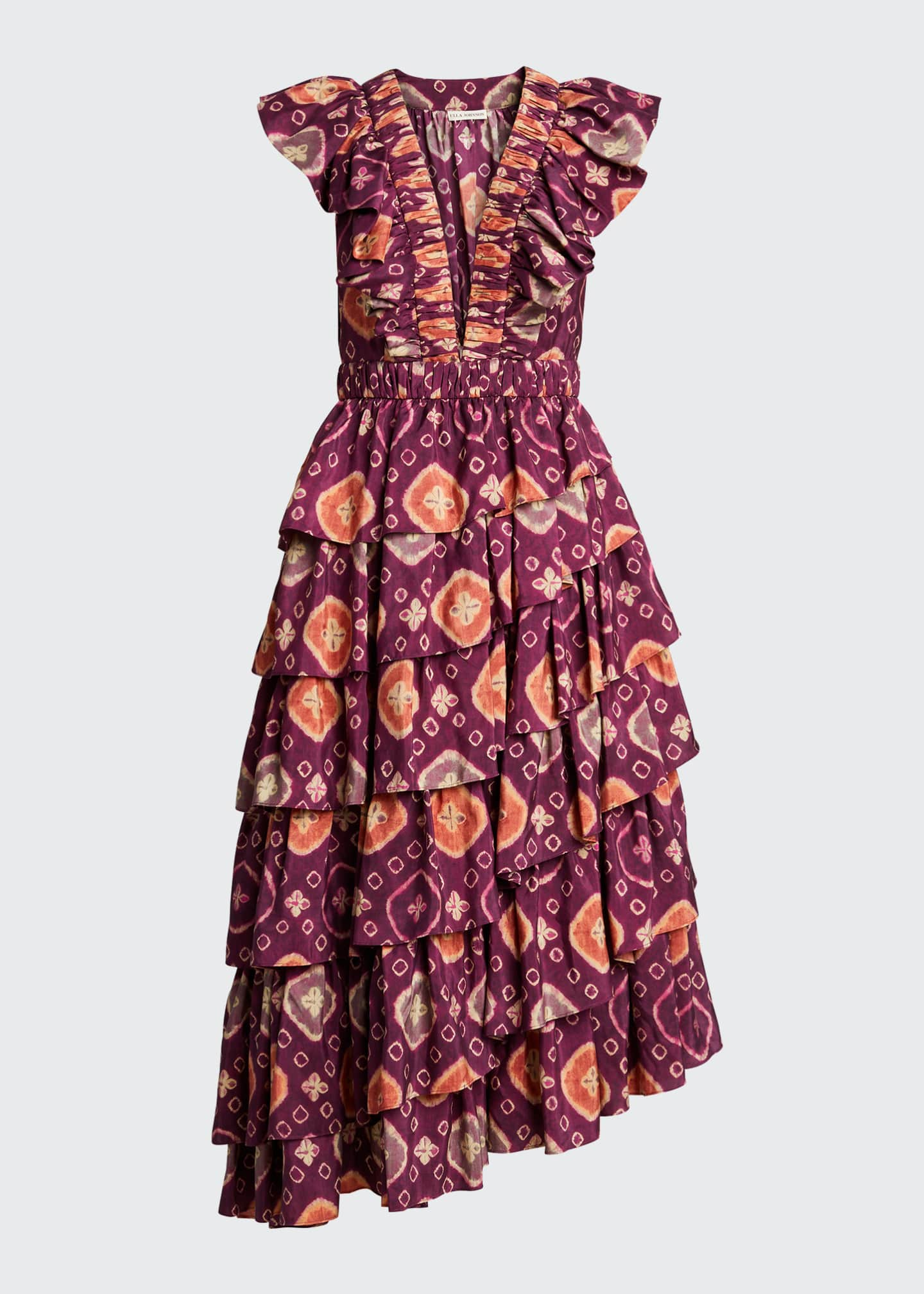 Image 5 of 5: Viola Shibori Plunge-Neck Ruffle Dress