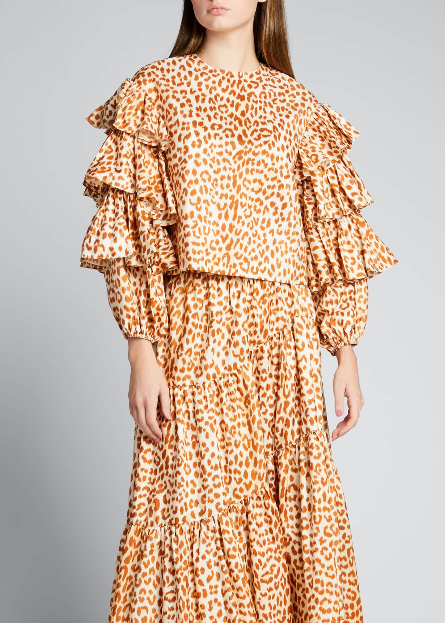 Image 3 of 5: Tulia Cheetah-Print Taffeta Blouse w/ Tiered Sleeves