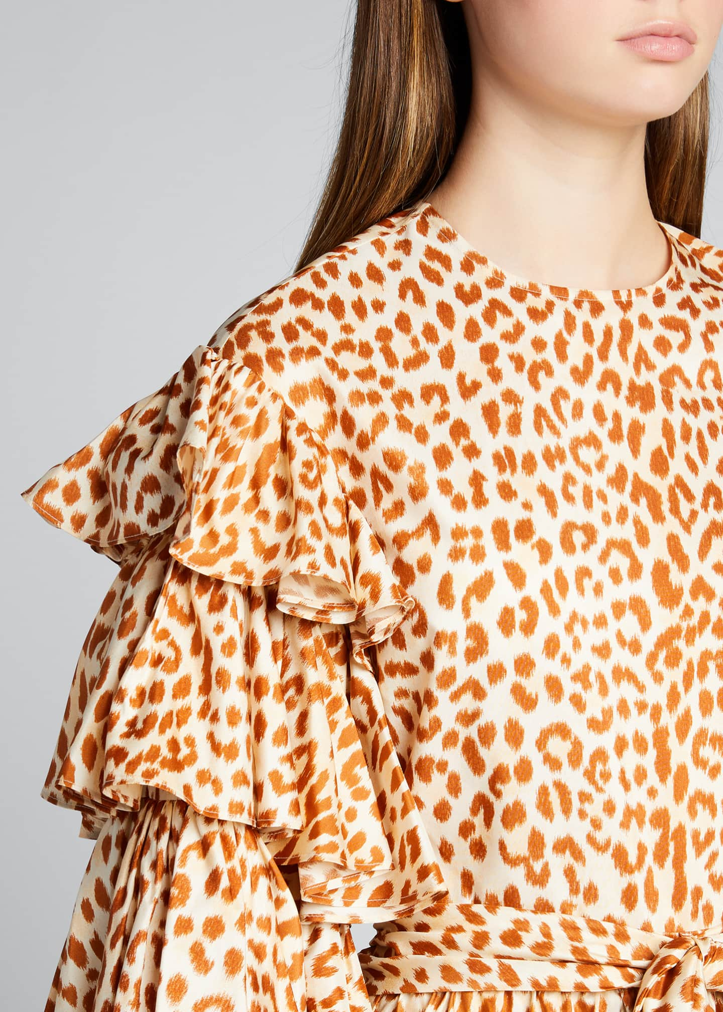 Image 4 of 5: Tulia Cheetah-Print Taffeta Blouse w/ Tiered Sleeves