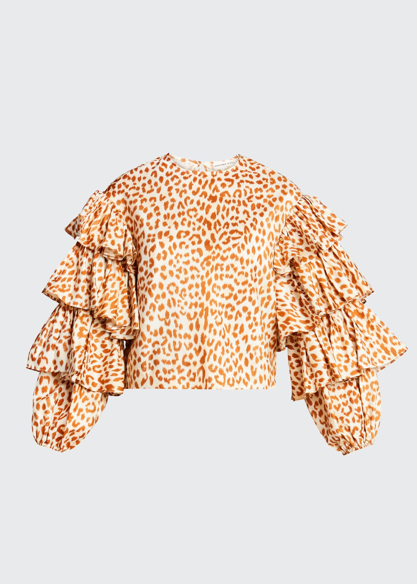 Image 5 of 5: Tulia Cheetah-Print Taffeta Blouse w/ Tiered Sleeves