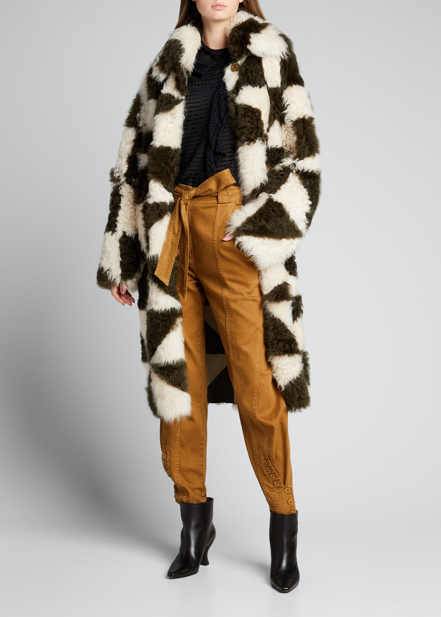 Image 1 of 5: Margot Two-Tone Shearling Coat