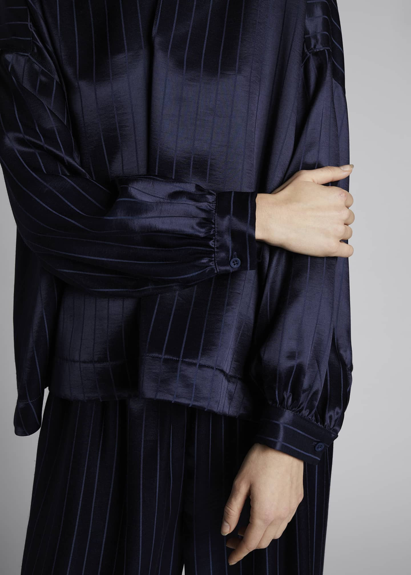 Image 4 of 4: Fluid Vareuse Stripe Tie-Neck Silk Blouse