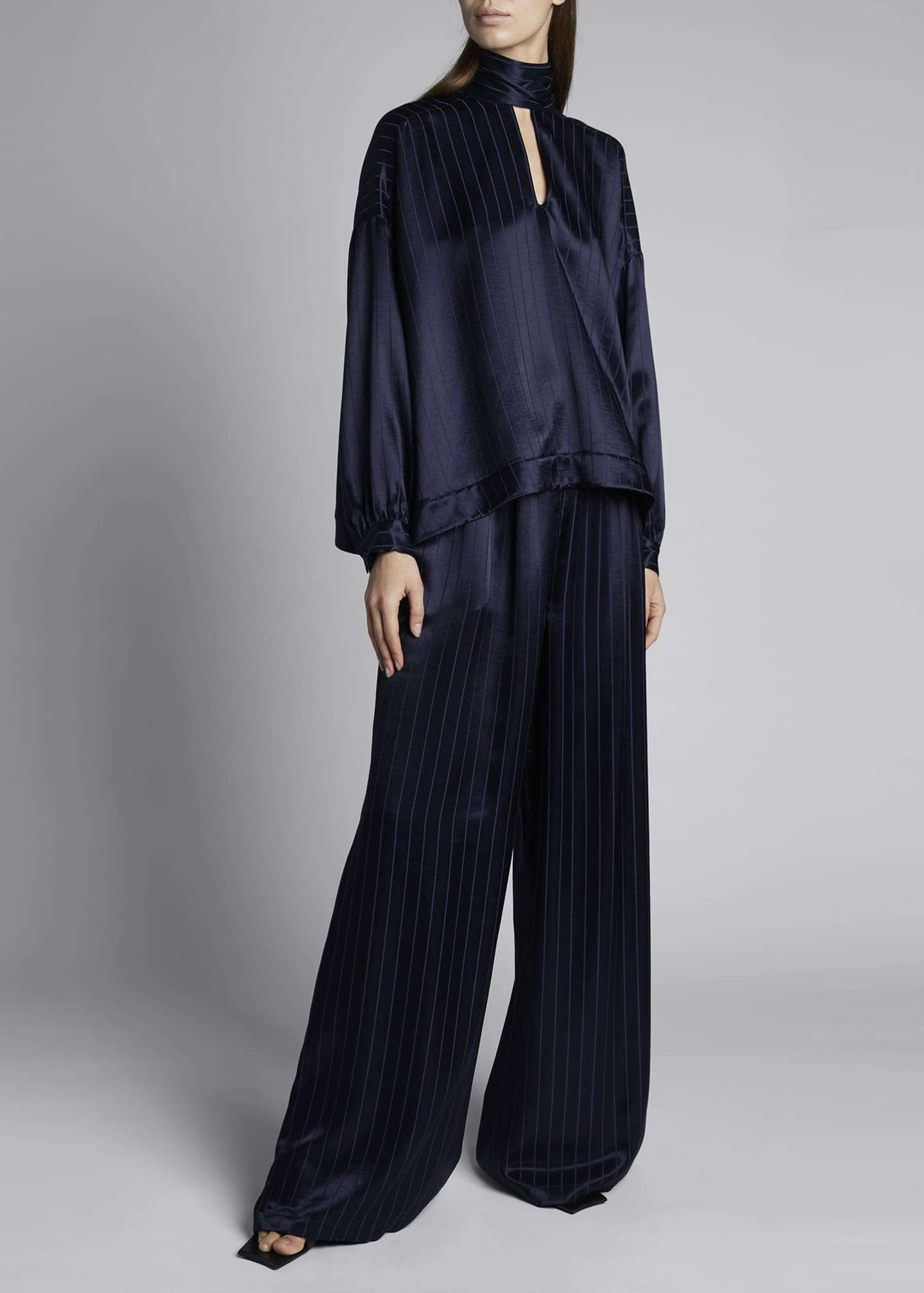Image 1 of 4: Fluid Vareuse Stripe Tie-Neck Silk Blouse