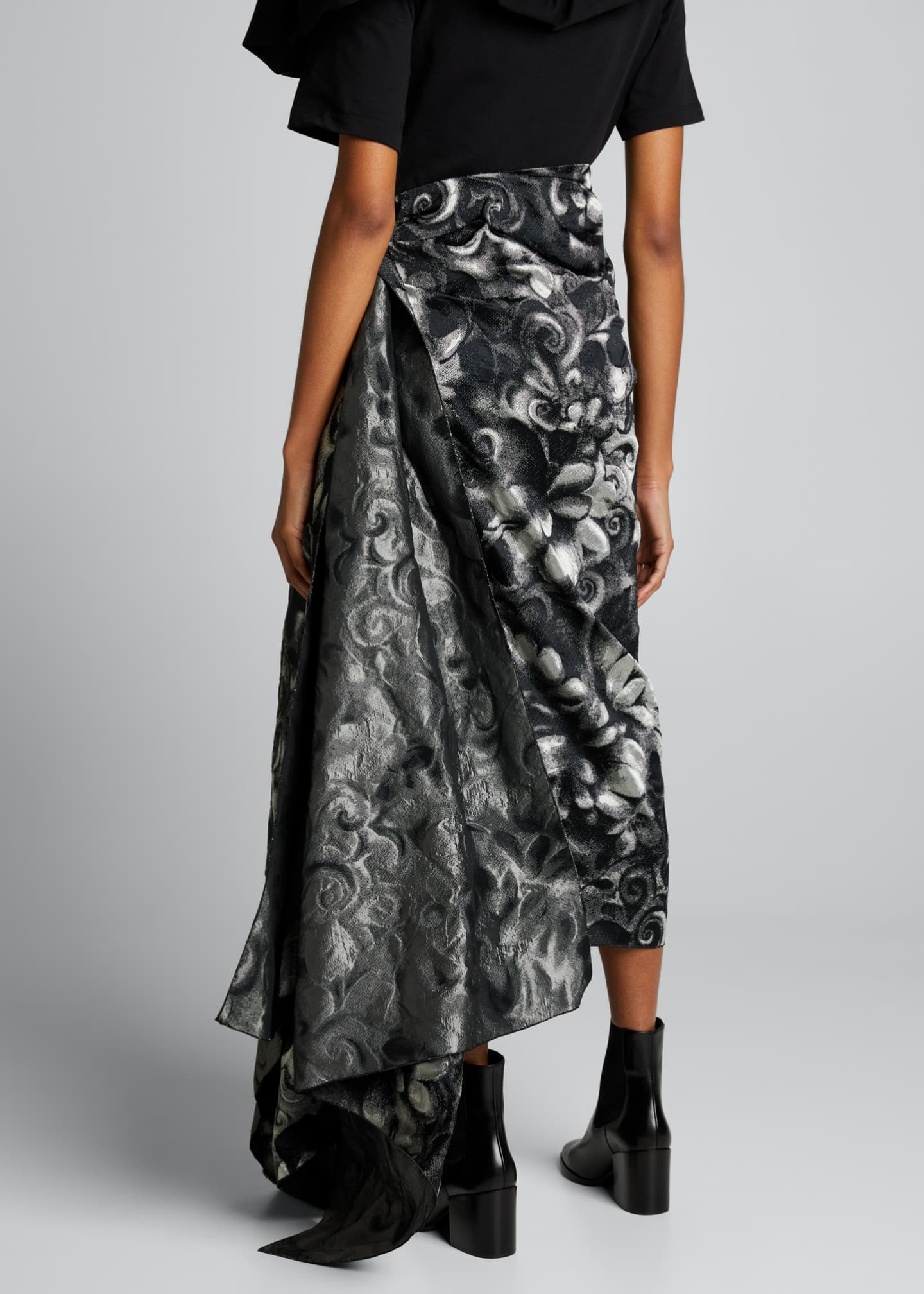 Image 2 of 5: High-Waist Draped Asymmetric Skirt