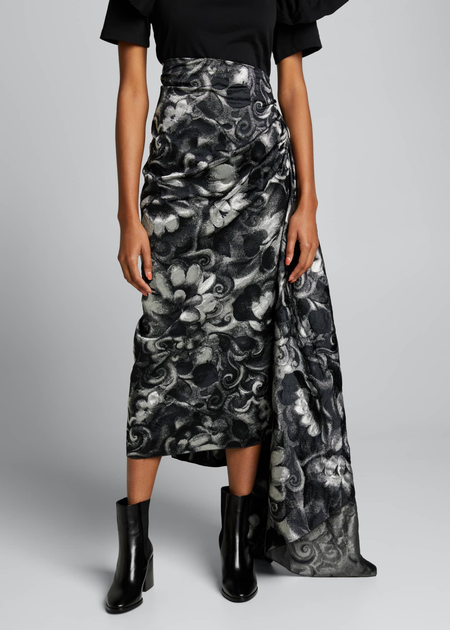 Image 3 of 5: High-Waist Draped Asymmetric Skirt