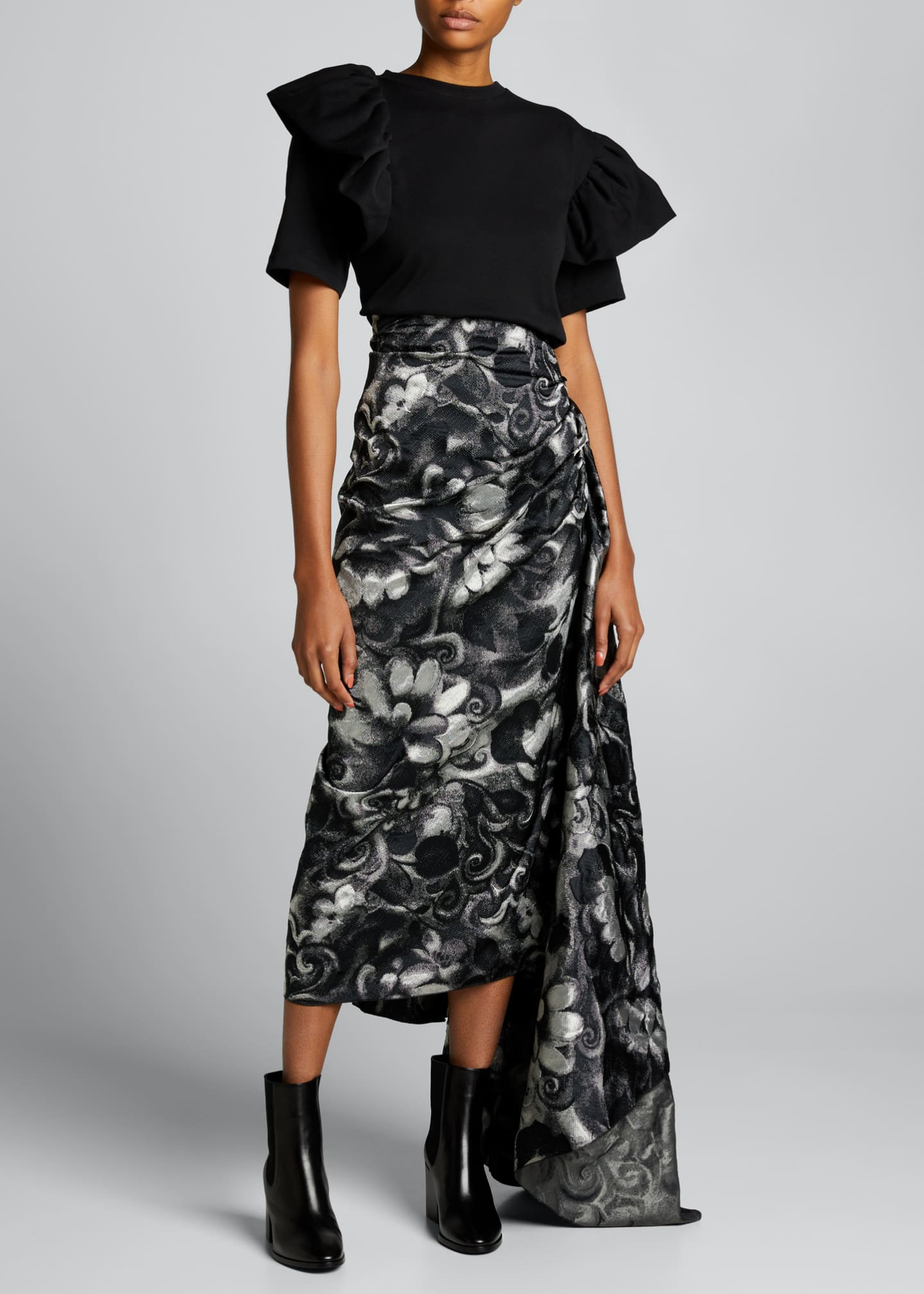 Image 1 of 5: High-Waist Draped Asymmetric Skirt