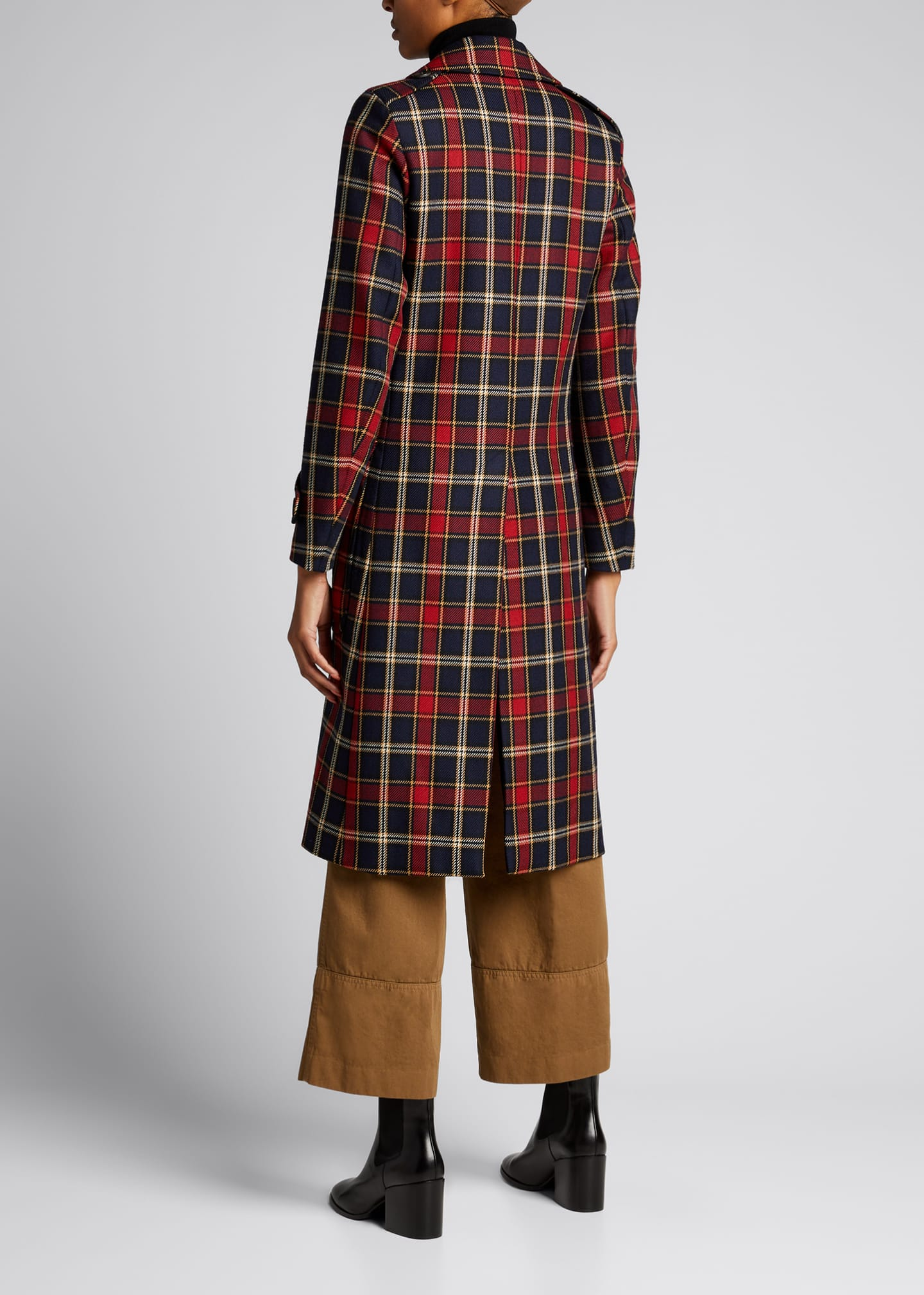 Image 2 of 5: Plaid Double-Breasted Wool Coat
