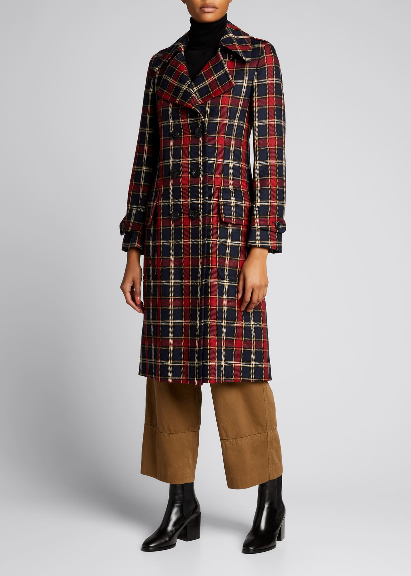 Image 3 of 5: Plaid Double-Breasted Wool Coat