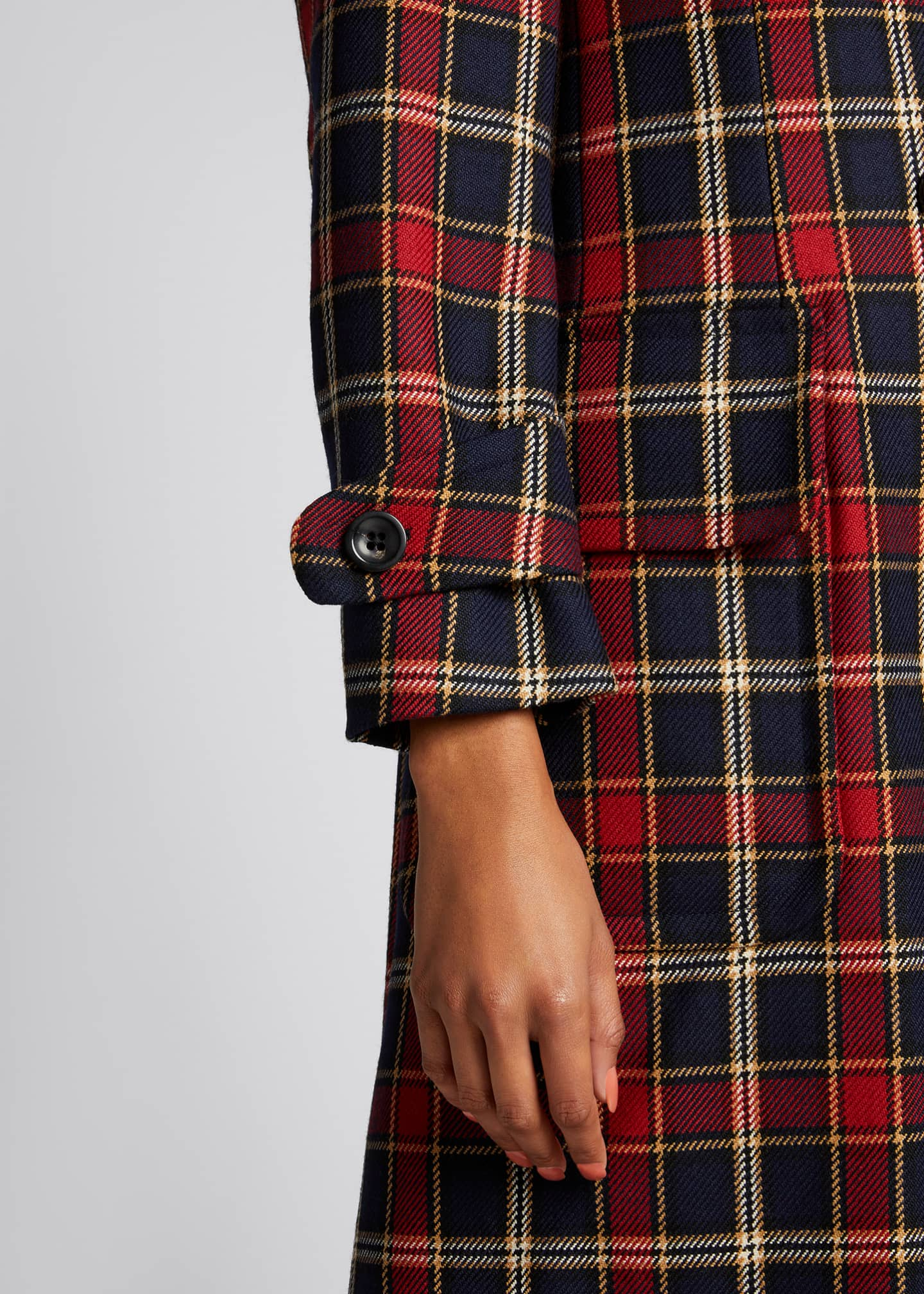Image 4 of 5: Plaid Double-Breasted Wool Coat