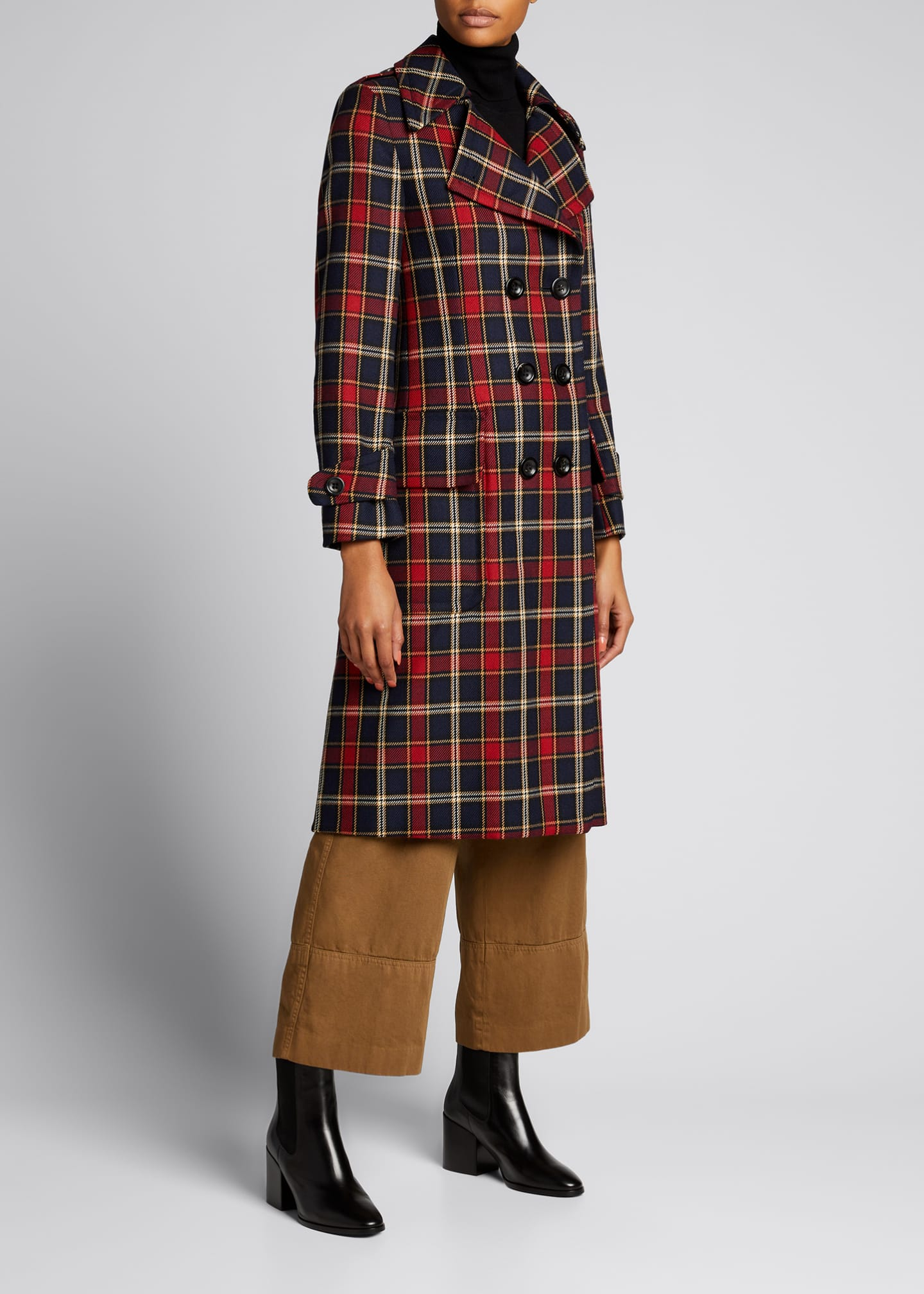 Image 1 of 5: Plaid Double-Breasted Wool Coat