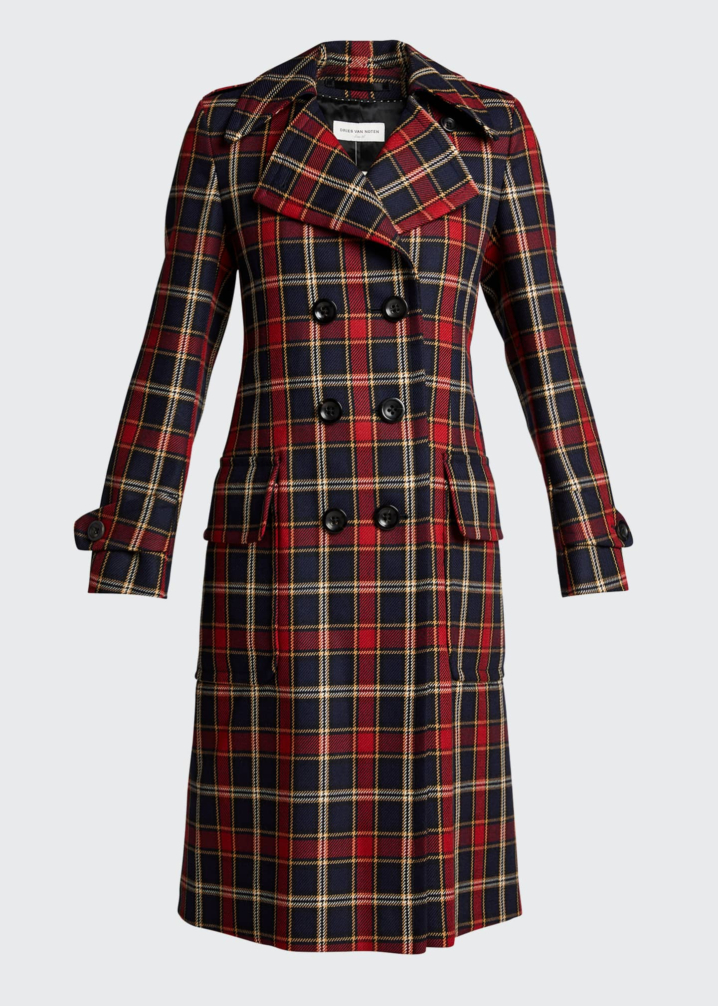 Image 5 of 5: Plaid Double-Breasted Wool Coat