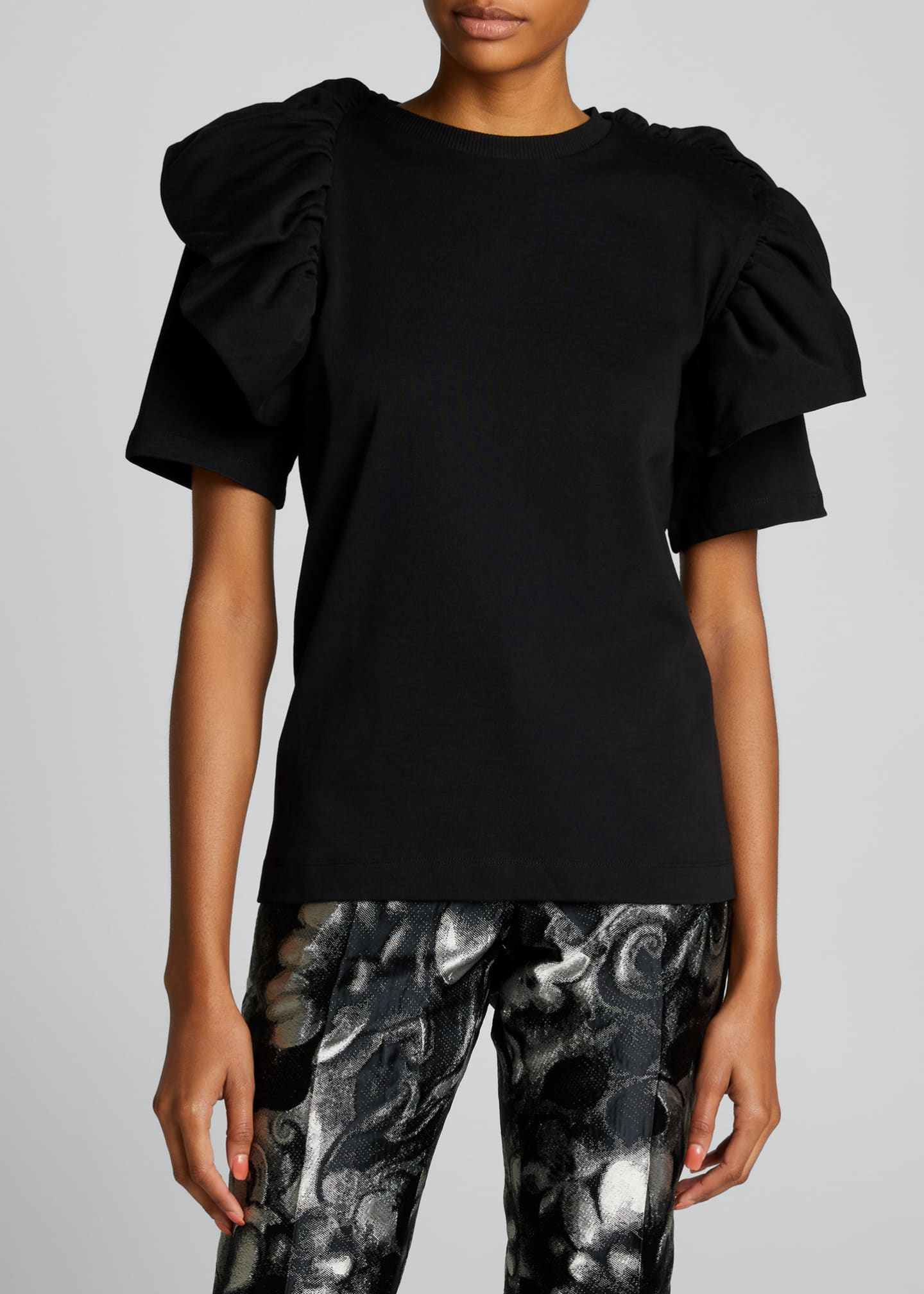 Image 3 of 5: Ruffle Cotton T-Shirt