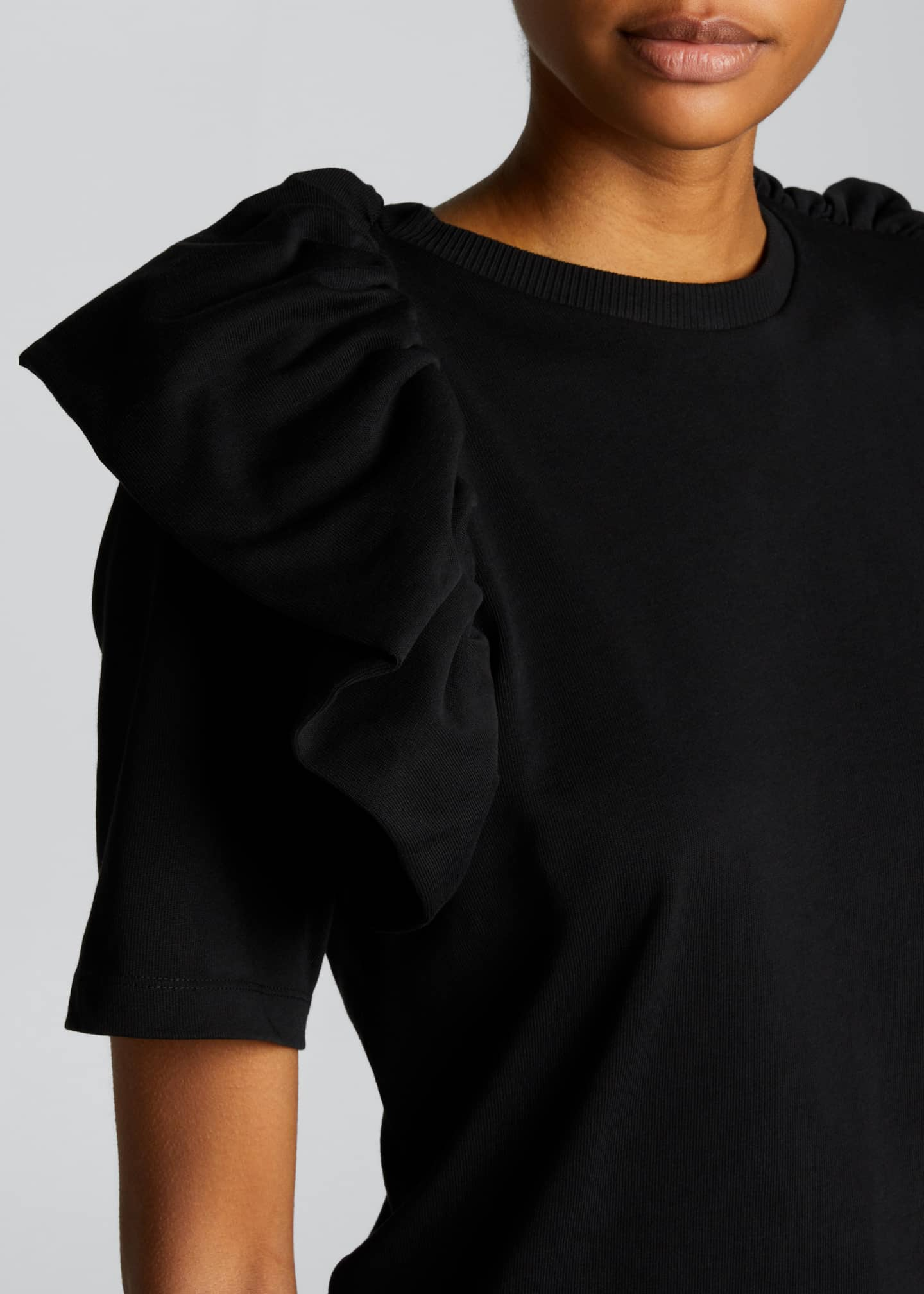 Image 4 of 5: Ruffle Cotton T-Shirt