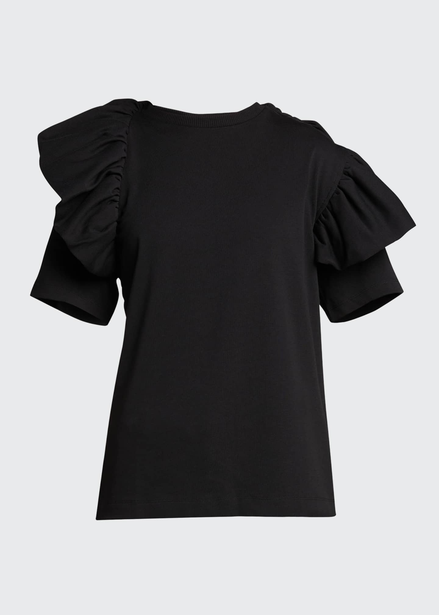 Image 5 of 5: Ruffle Cotton T-Shirt