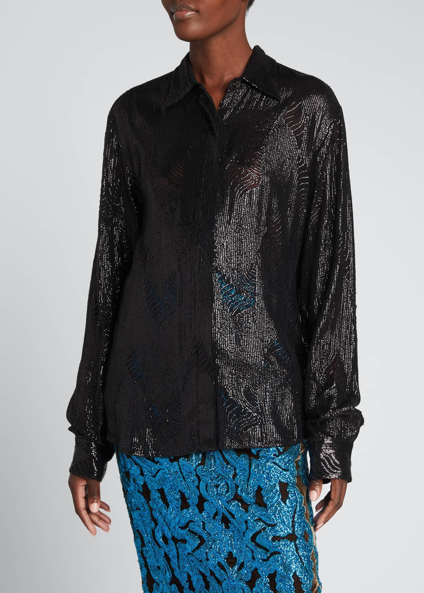 Image 3 of 5: Crepe Embellished Collared Top