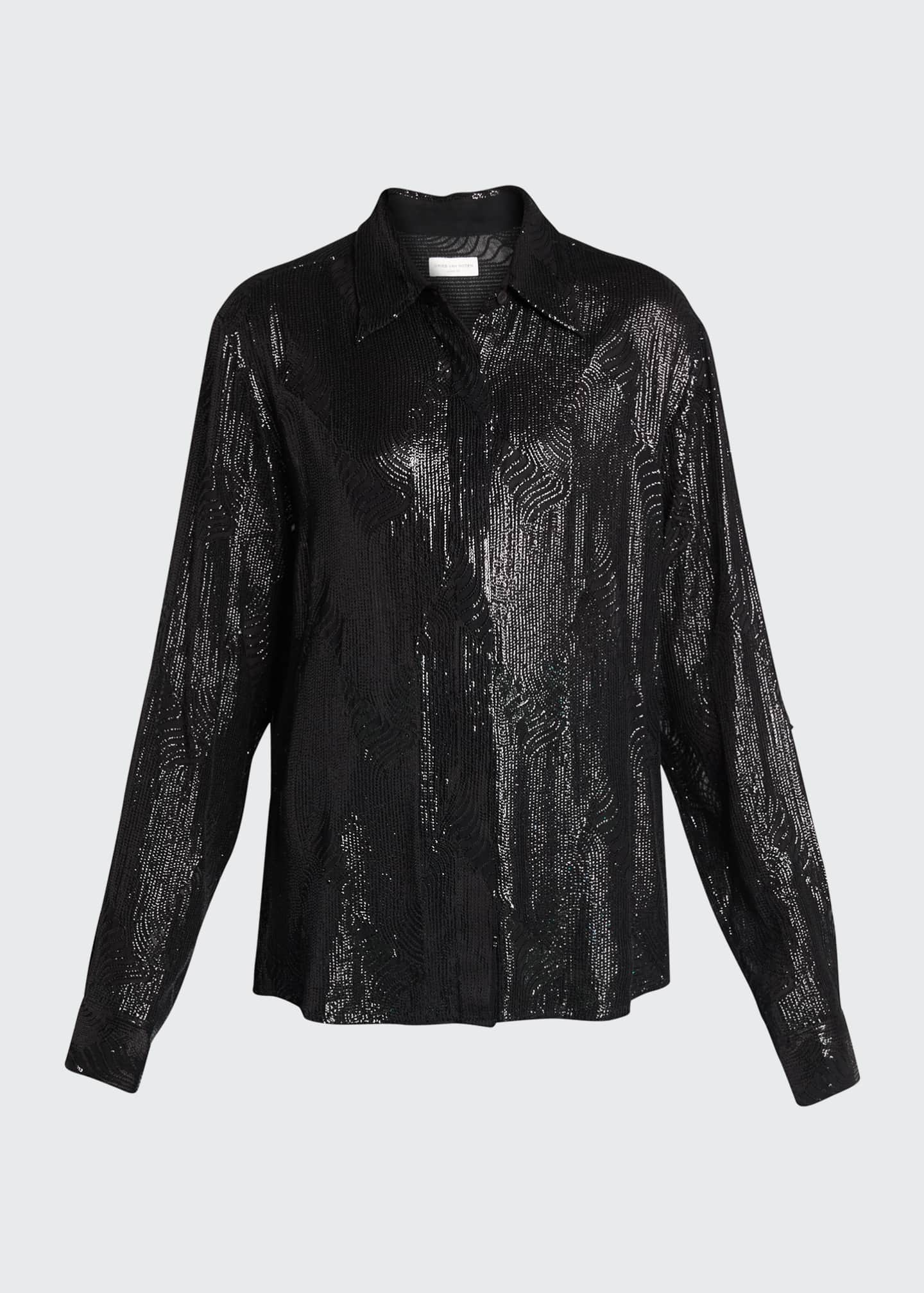 Image 5 of 5: Crepe Embellished Collared Top